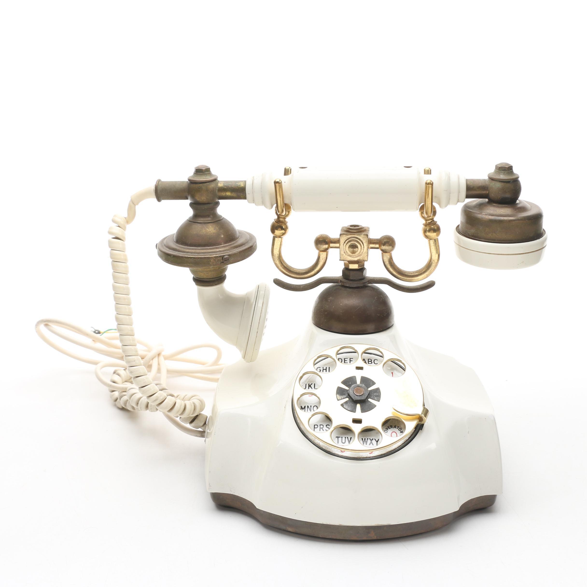 Vintage Ivory-Tone Rotary Telephone