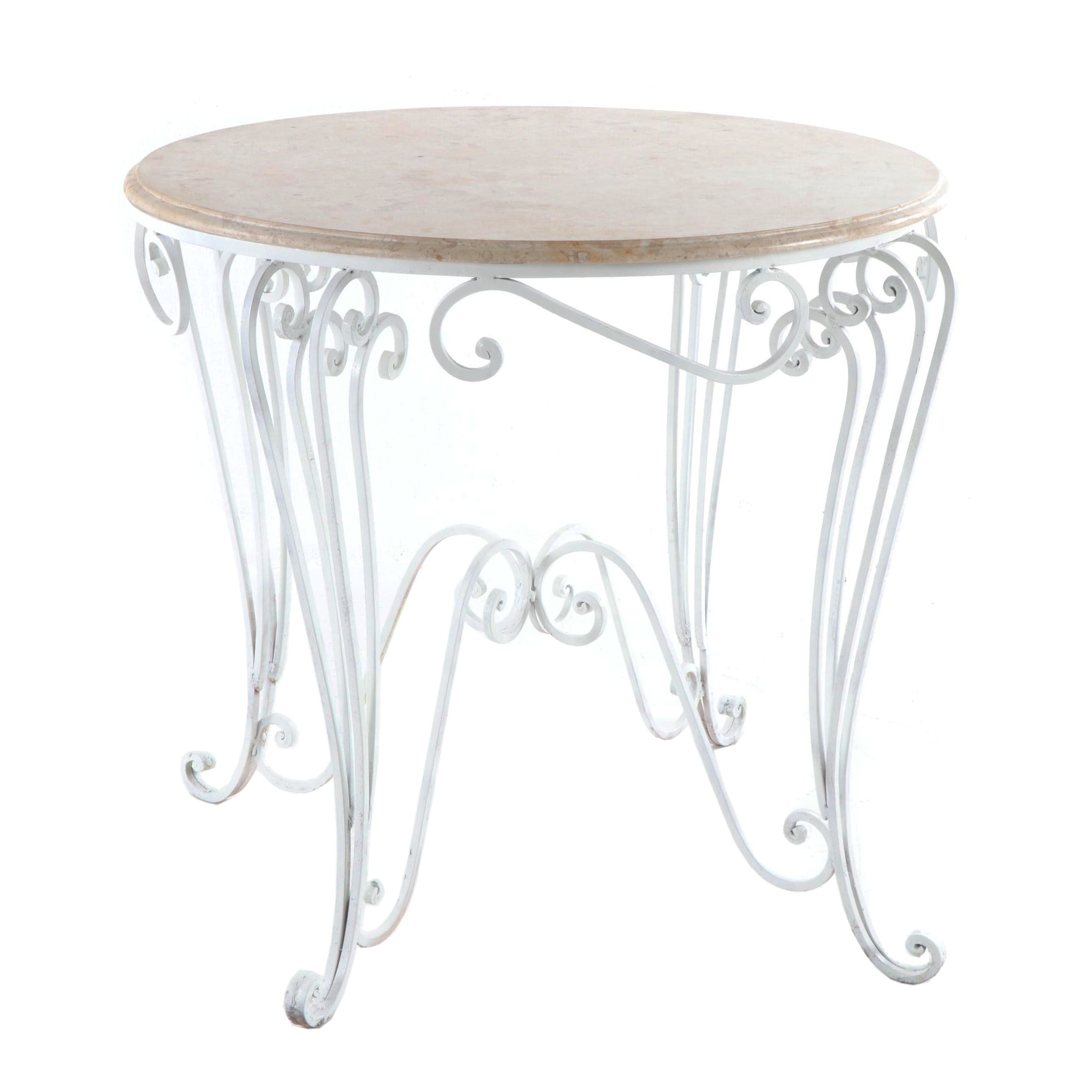 Stone and Wrought Iron Bistro Table