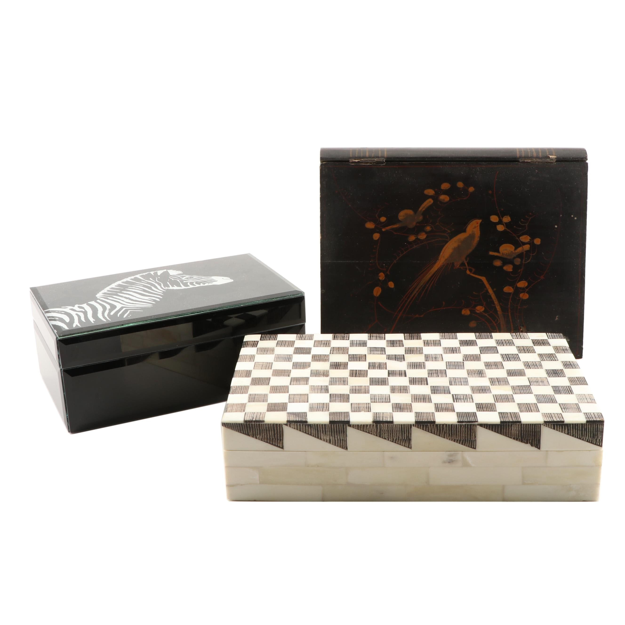 Decorative Storage Boxes with Lids Featuring Tozai Tessellated Stone