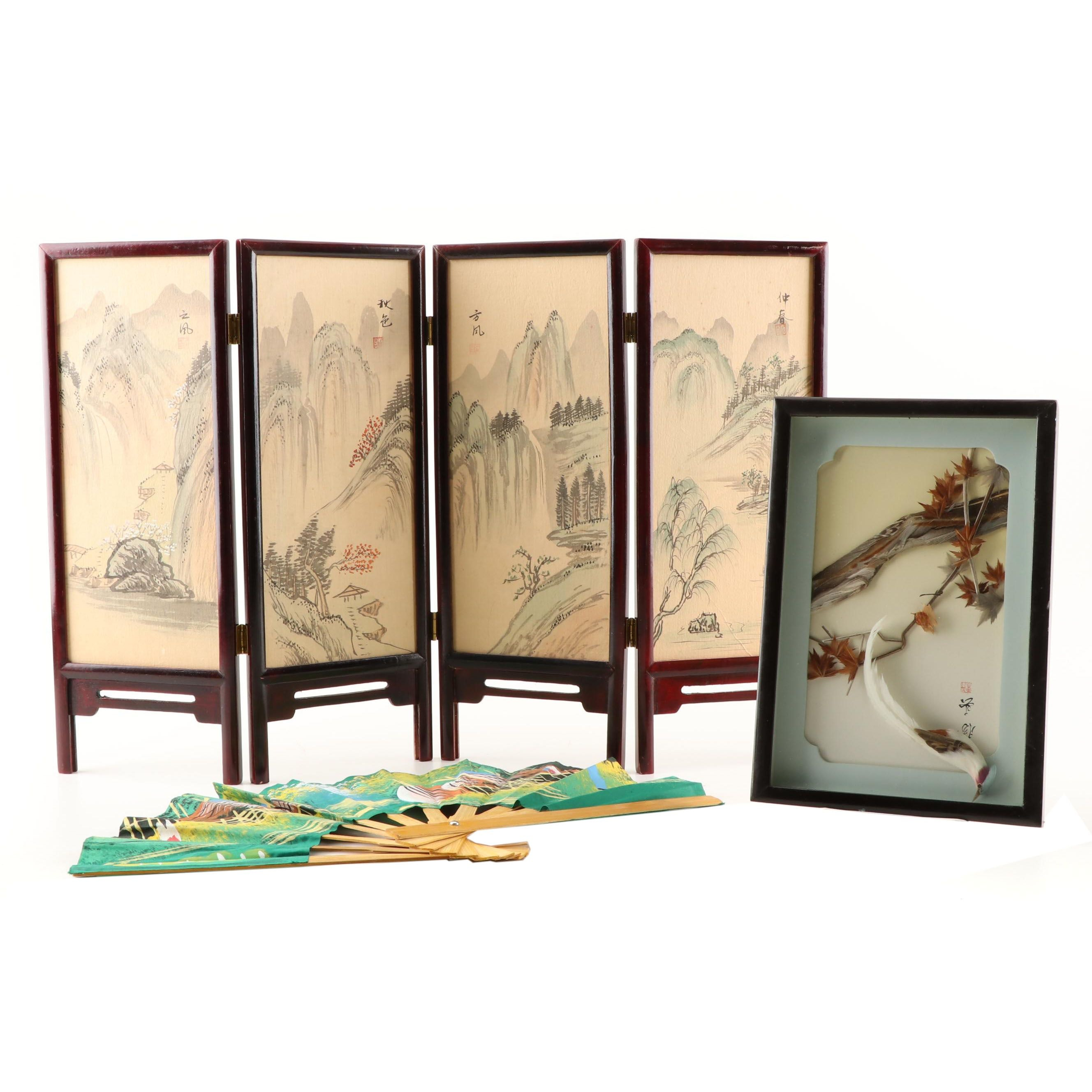 Miniature Chinese Silk Screen and Wall Art