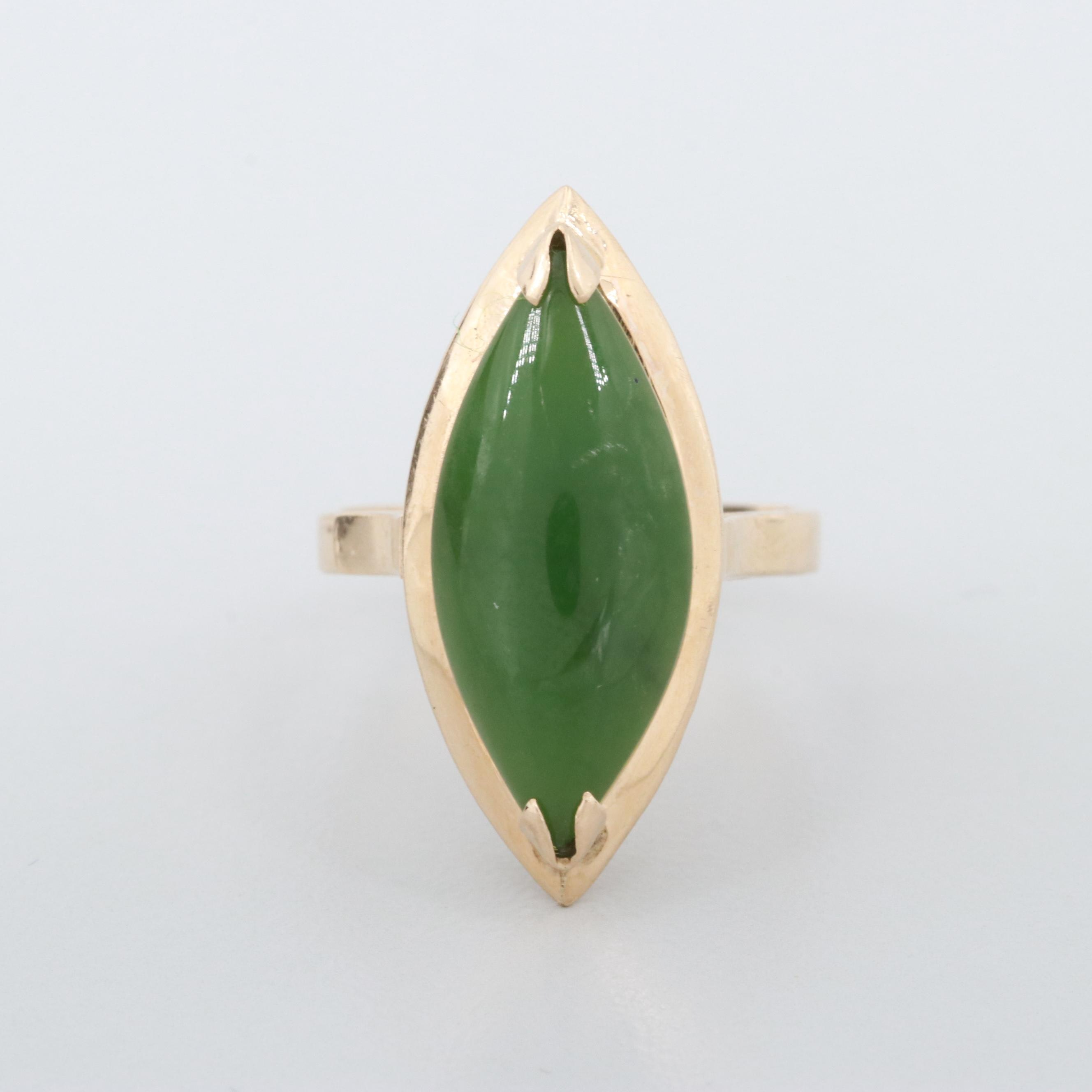 Vintage 14K Yellow Gold Nephrite Ring