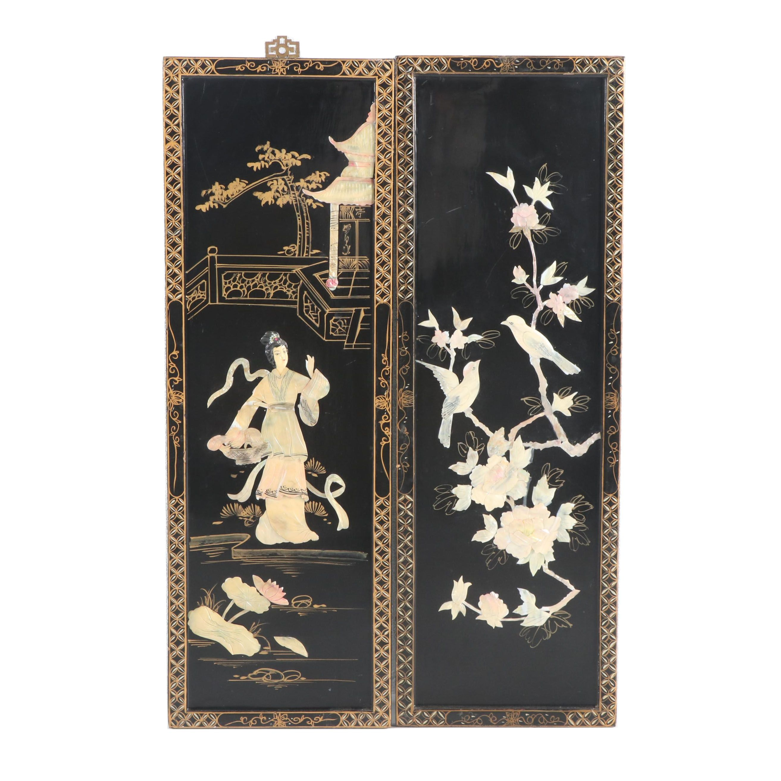 Chinese Mother-of-Pearl and Lacquered Decorative Panels