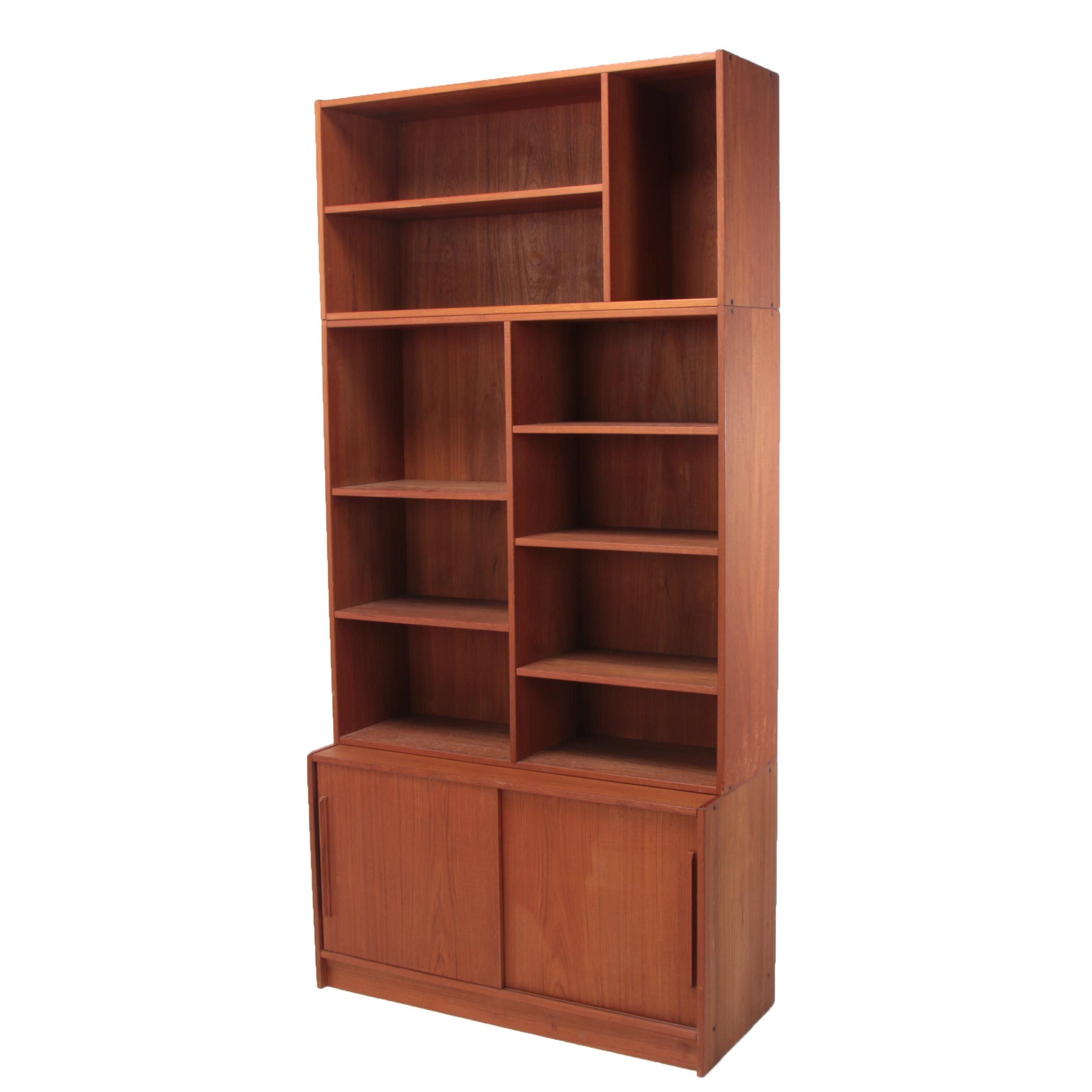 Danish Modern Teak Modular Bookcase-on-Cabinet, Circa 1960