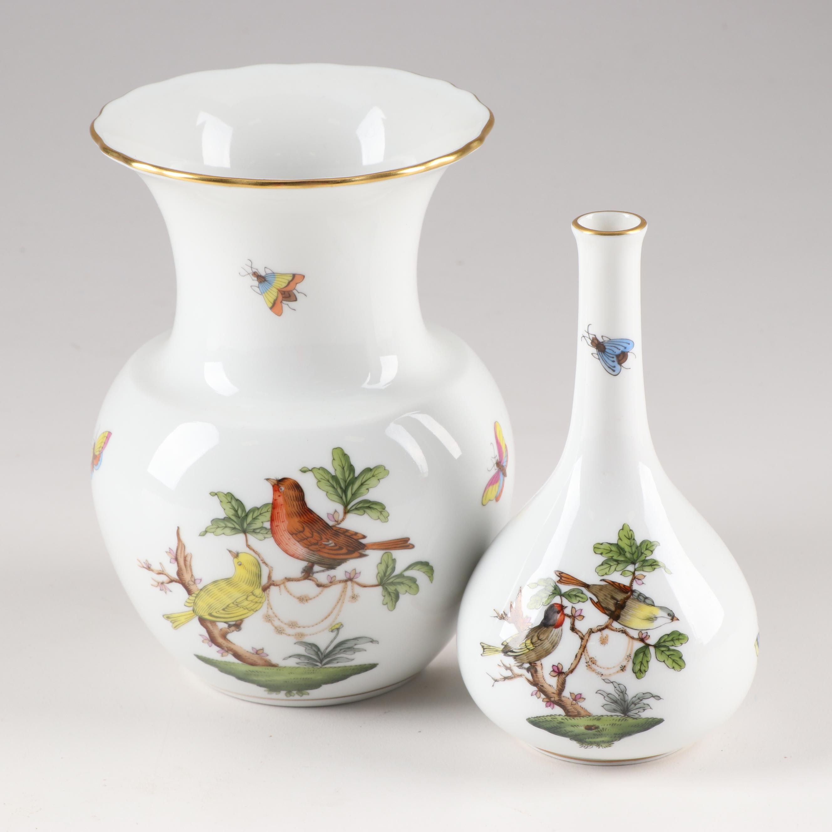 "Herend ""Rothschild Bird"" Vases"