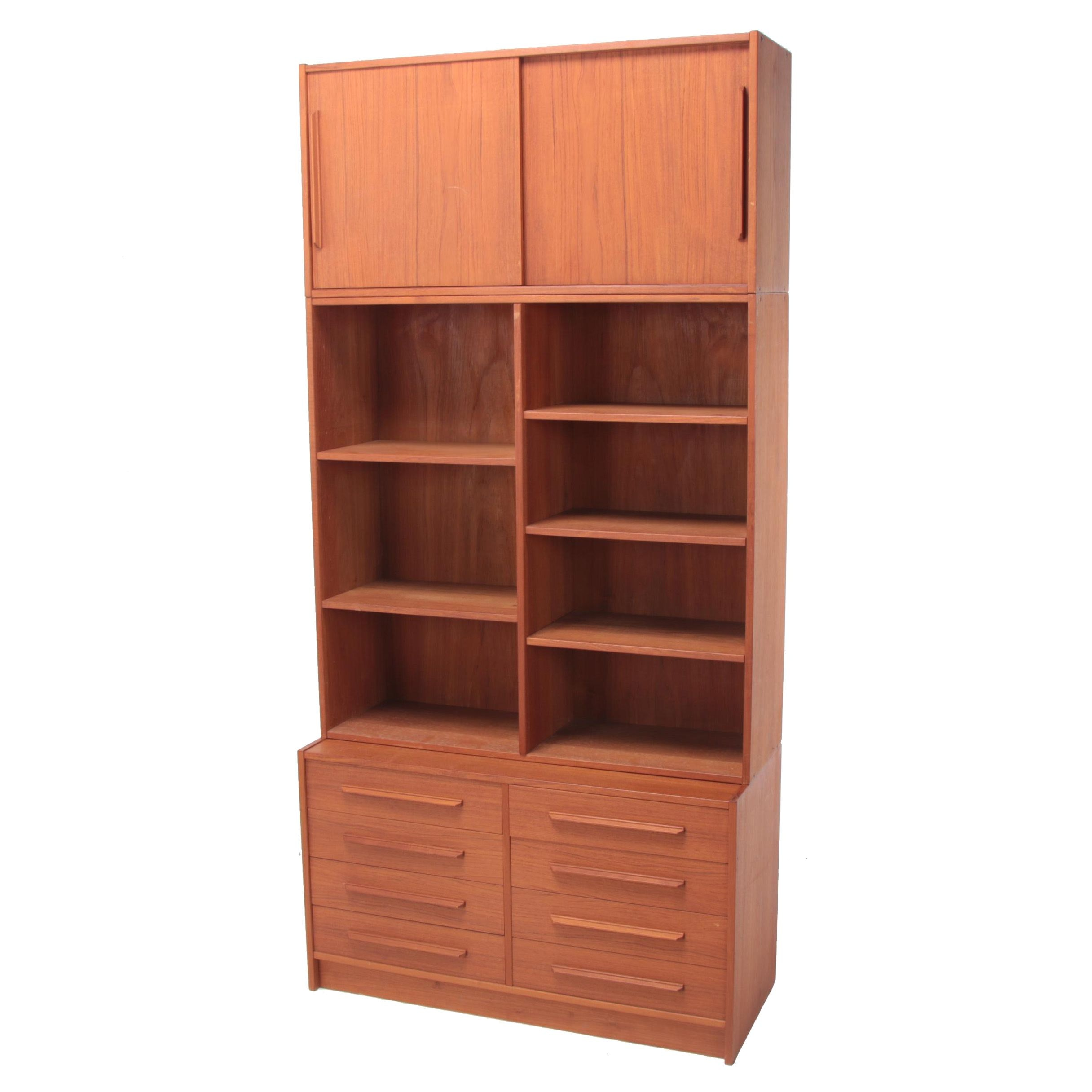 Danish Modern Teak Modular Cabinet-on-Bookcase-on-Chest, Circa 1960