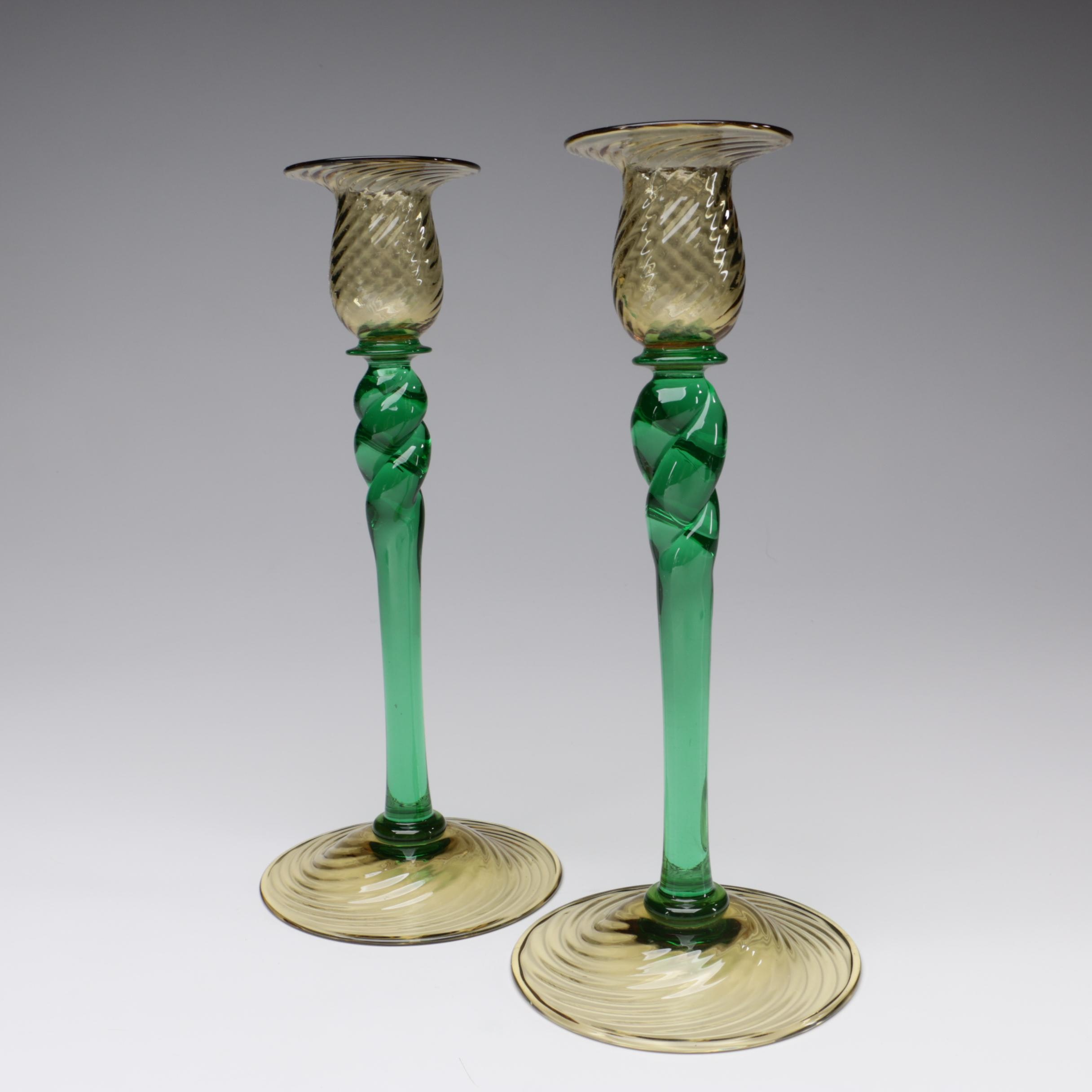 Steuben Pomona Green and Topaz Art Glass Candlesticks, Early 20th Century
