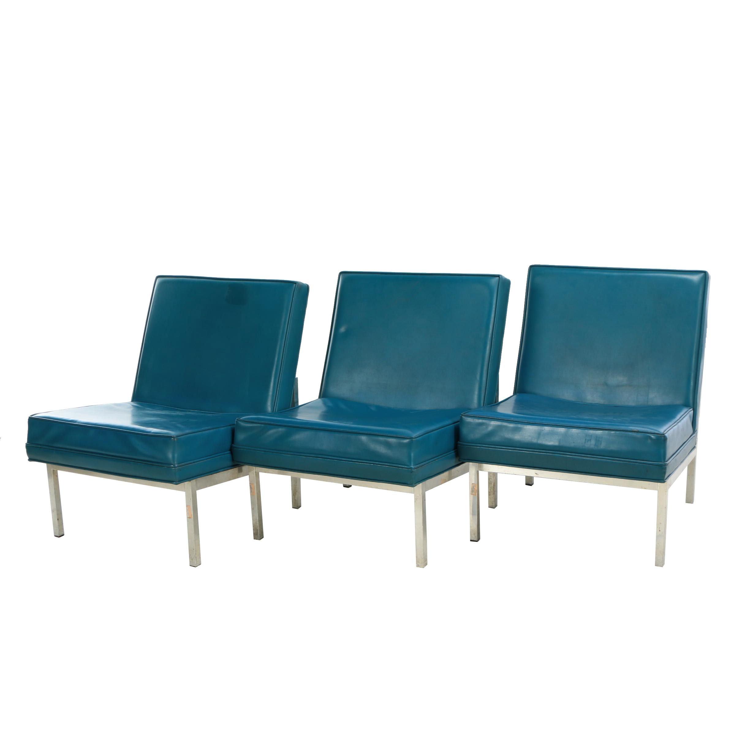 Jack Cartwright Inc., Three Aluminum and Blue Vinyl Lounge Chairs, Circa 1960