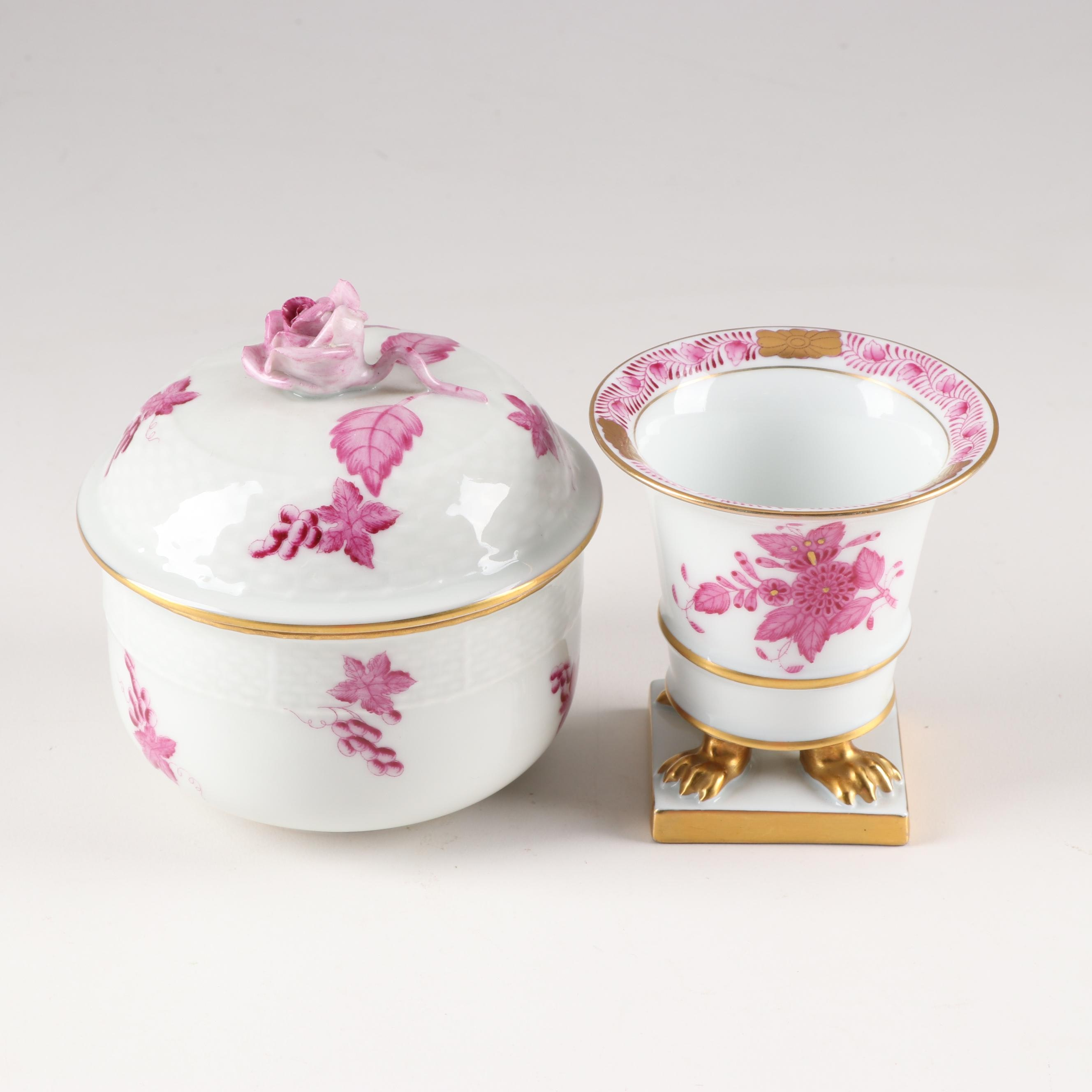 "Herend ""Chinese Bouquet"" Raspberry Sugar Bowl and Miniature Vase"