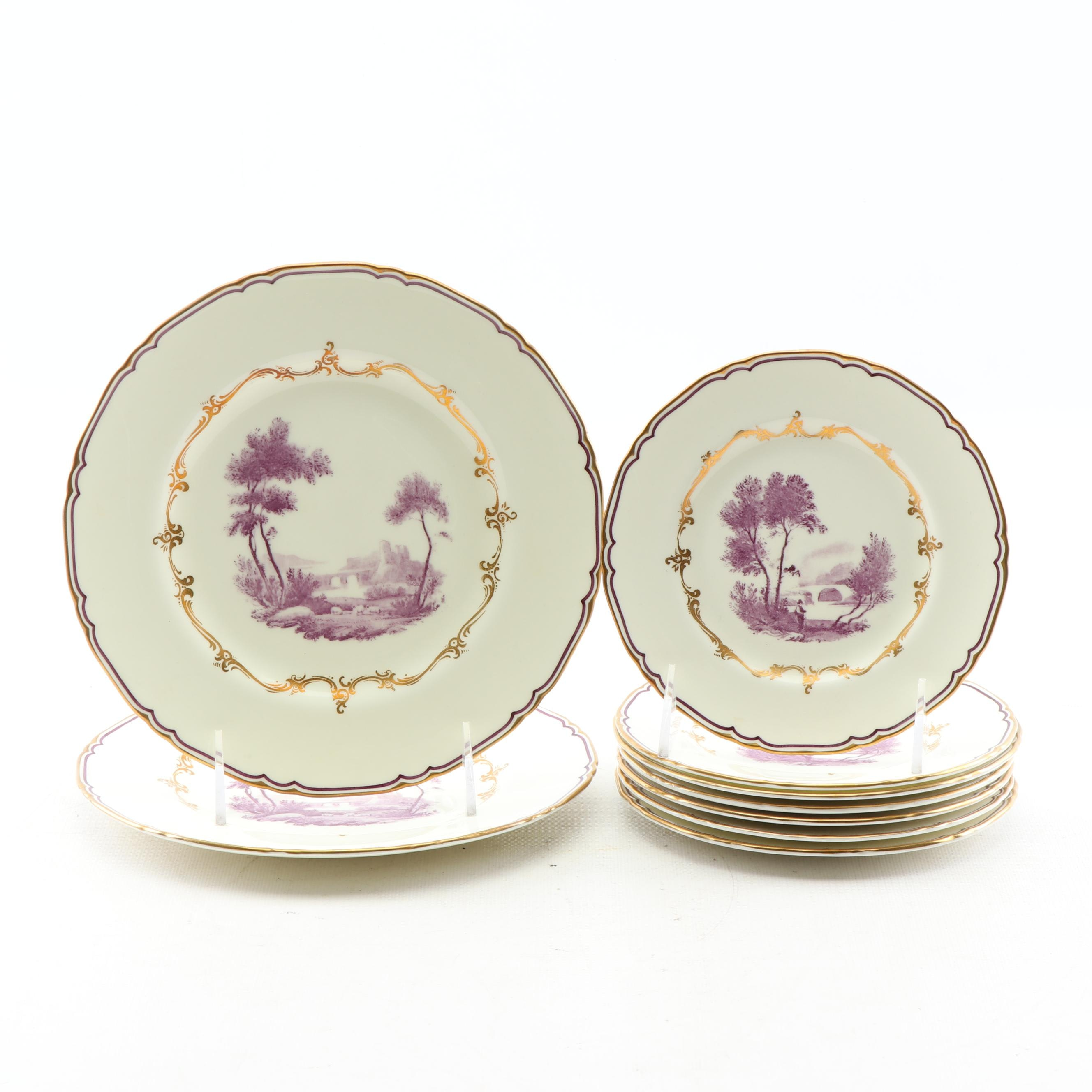 "Royal Worcester ""The Chamberlain Purple"" Bone China Bread and Salad Plates"