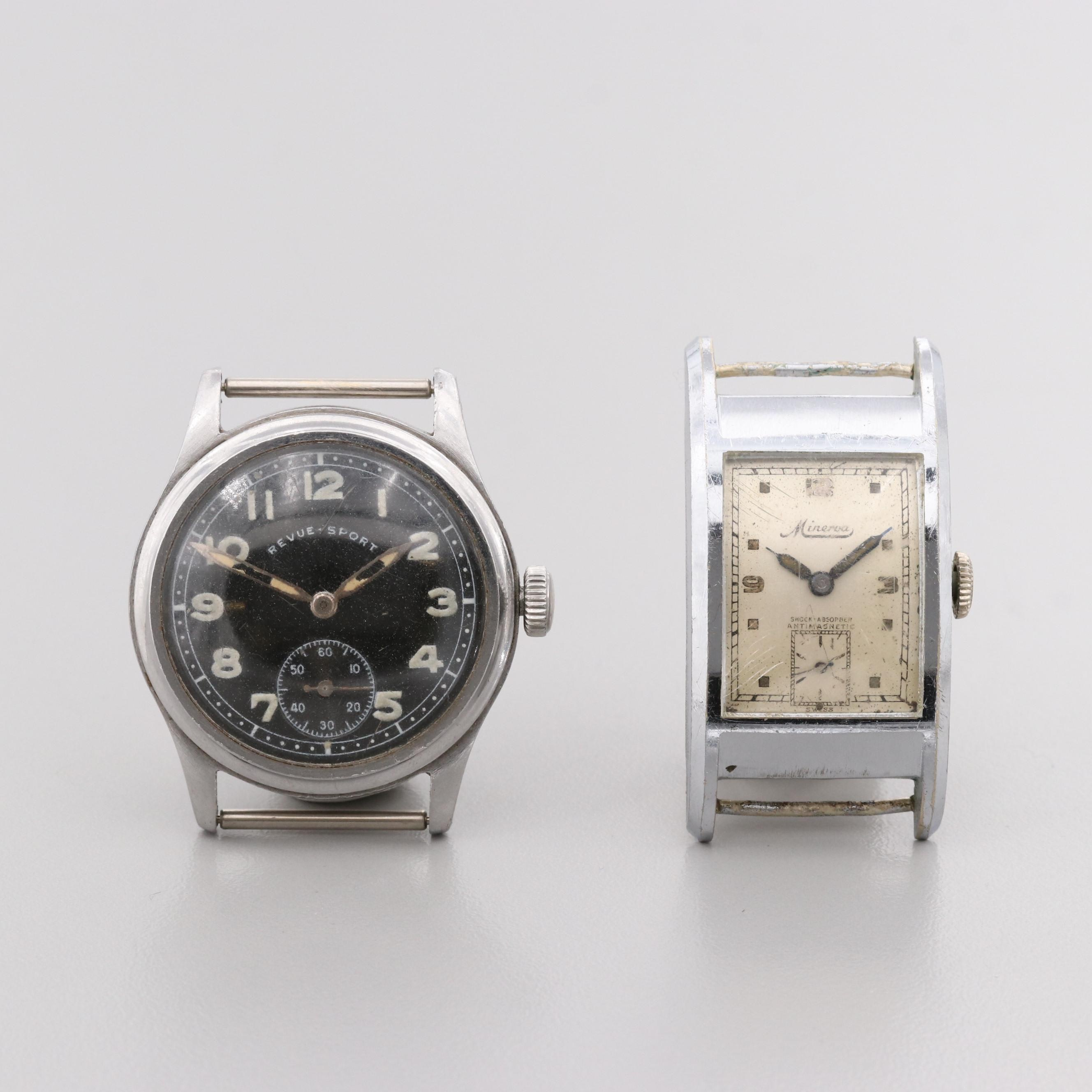 Assorted Vintage Metal and Stainless Steel Stem Wind Wristwatch Time Pieces