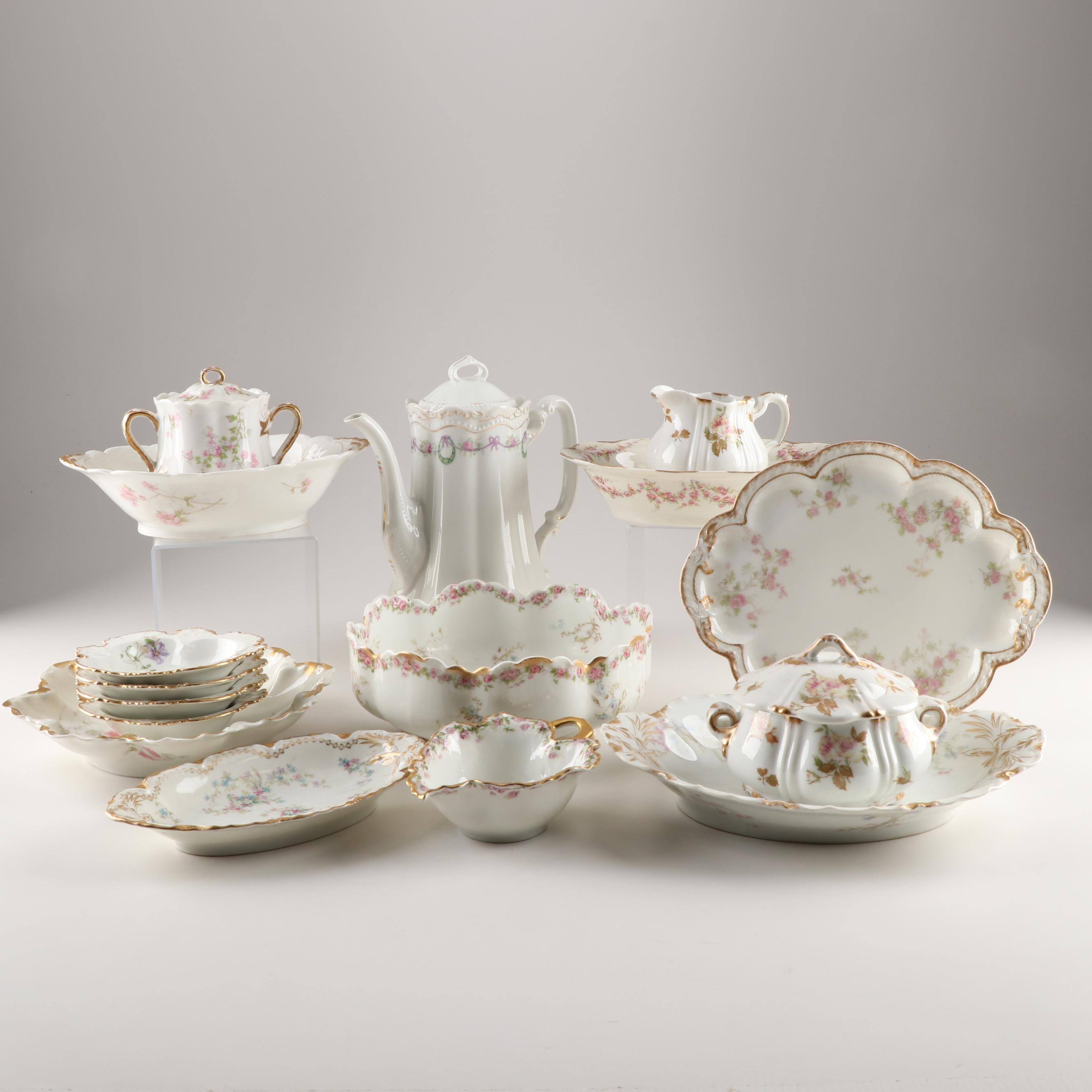 Mixed Pattern Limoges Tableware Featuring Haviland
