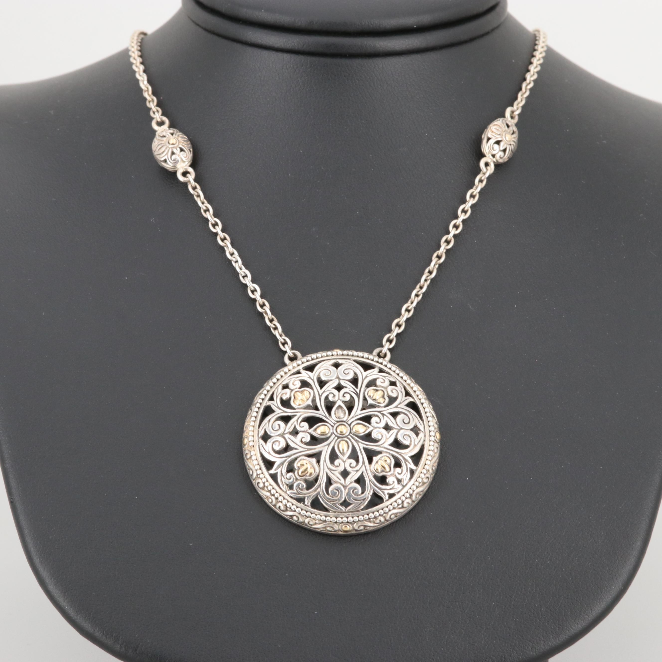 Robert Manse Sterling Silver Openwork Necklace with 18K Yellow Gold accents.