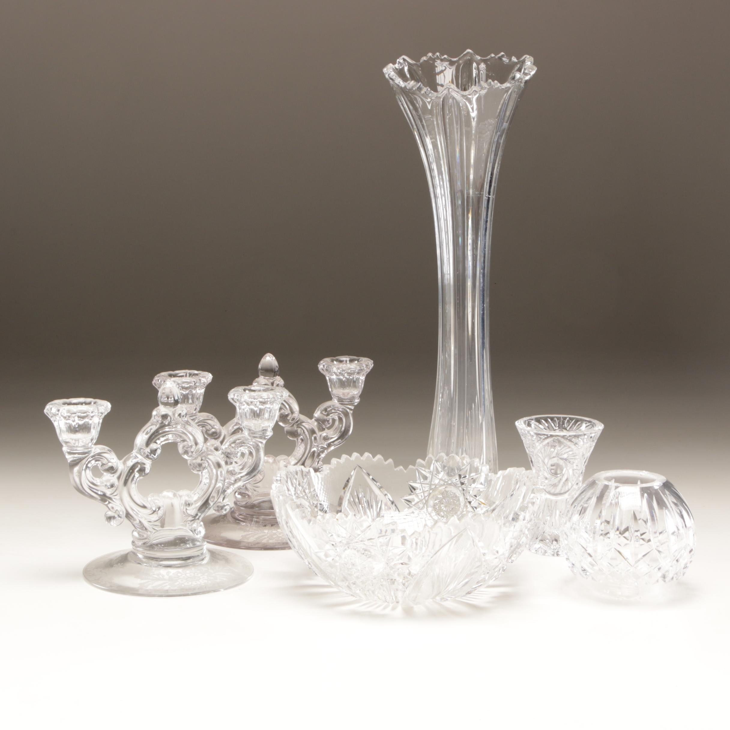 Cut Glass and Crystal Table Decor Featuring Waterford Crystal Bud Vase
