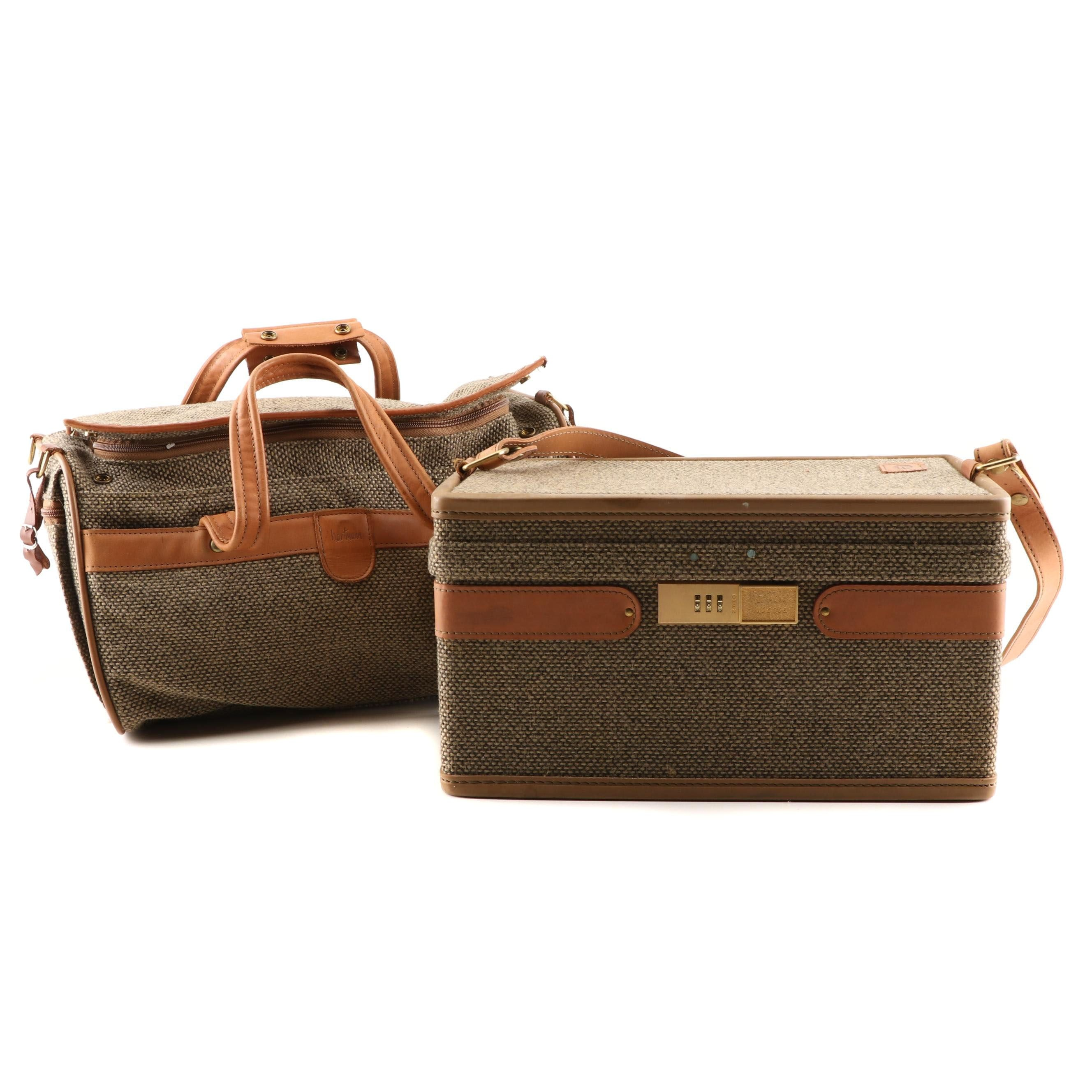 Hartmann Tweed and Leather Train Case and Duffel Bag, 1980s Vintage