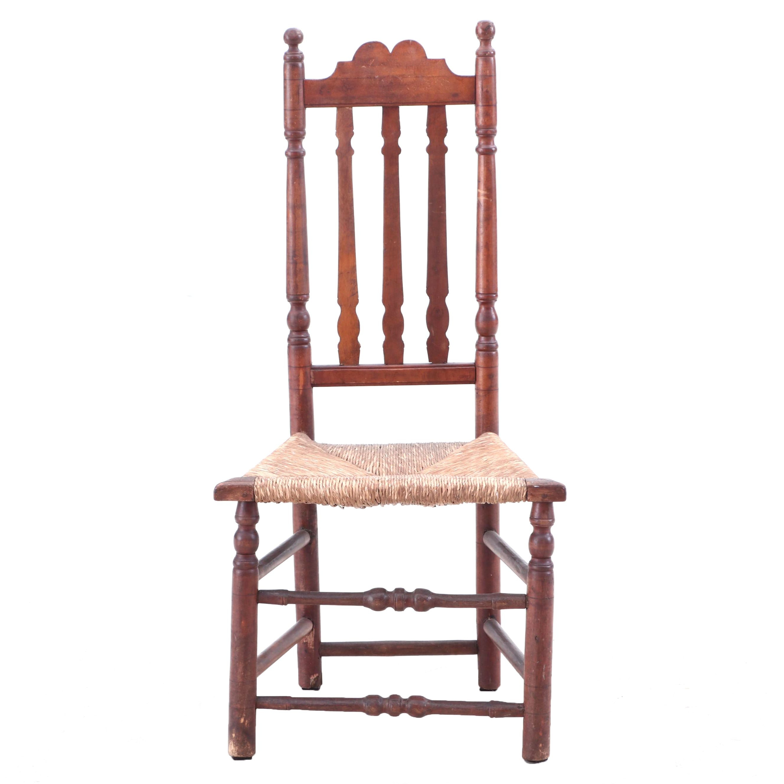 Banister-Back Chair with Rush Seat, Likely New England, Late 18th Century