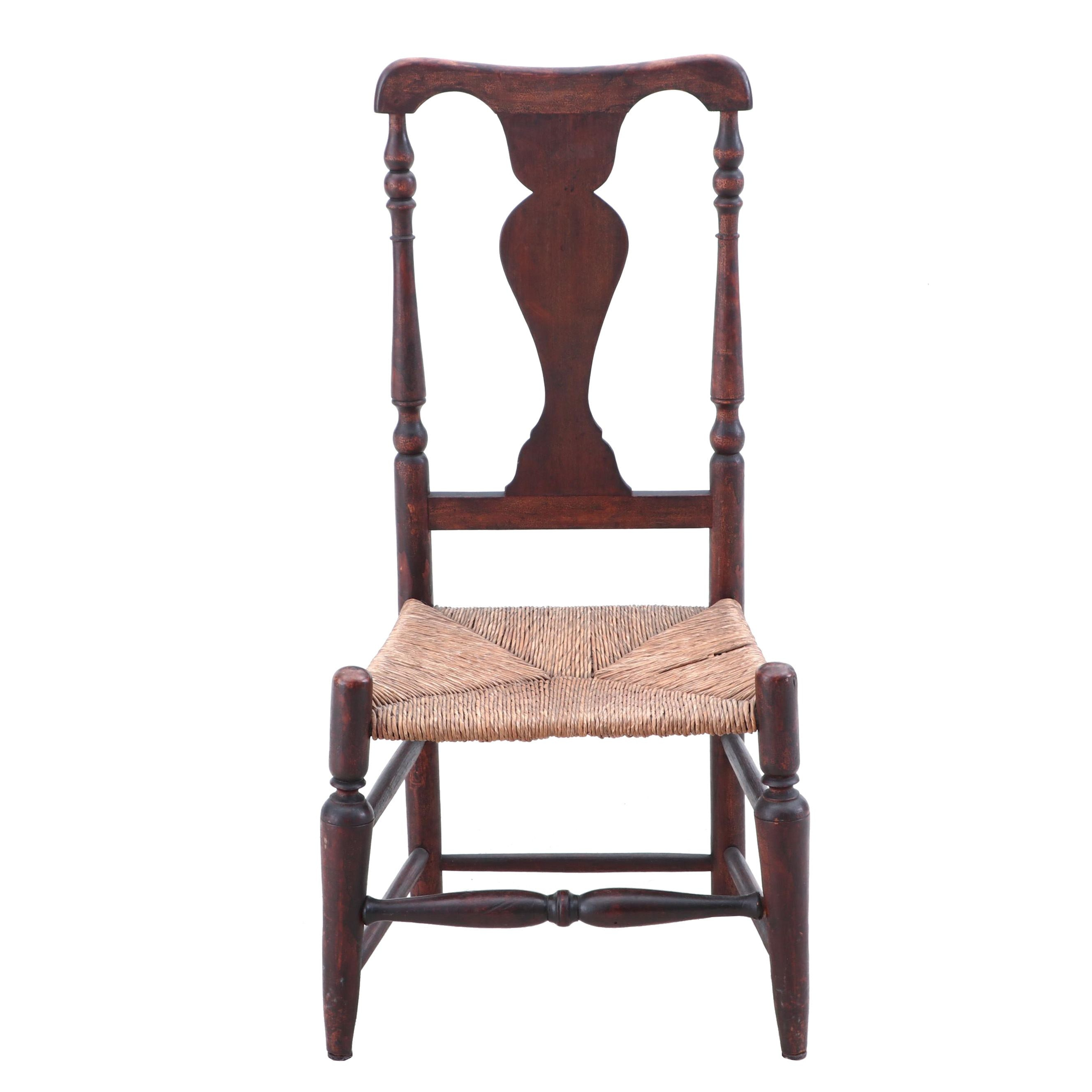 Queen Anne Side Chair with Rush Seat, Late 18th Century