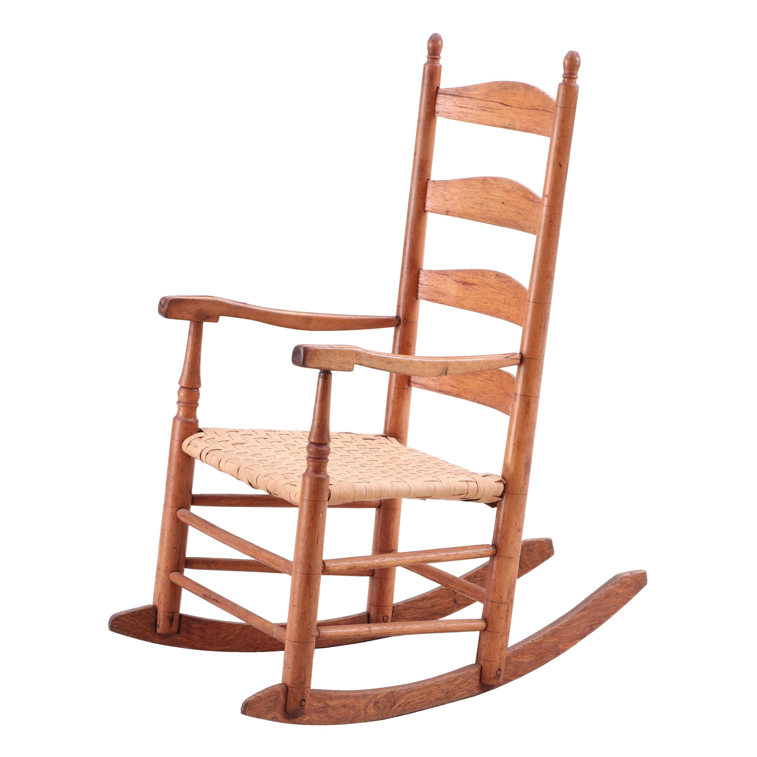 Hickory Rocking Chair with Splint Woven Seat, Likely New England, Circa 1840