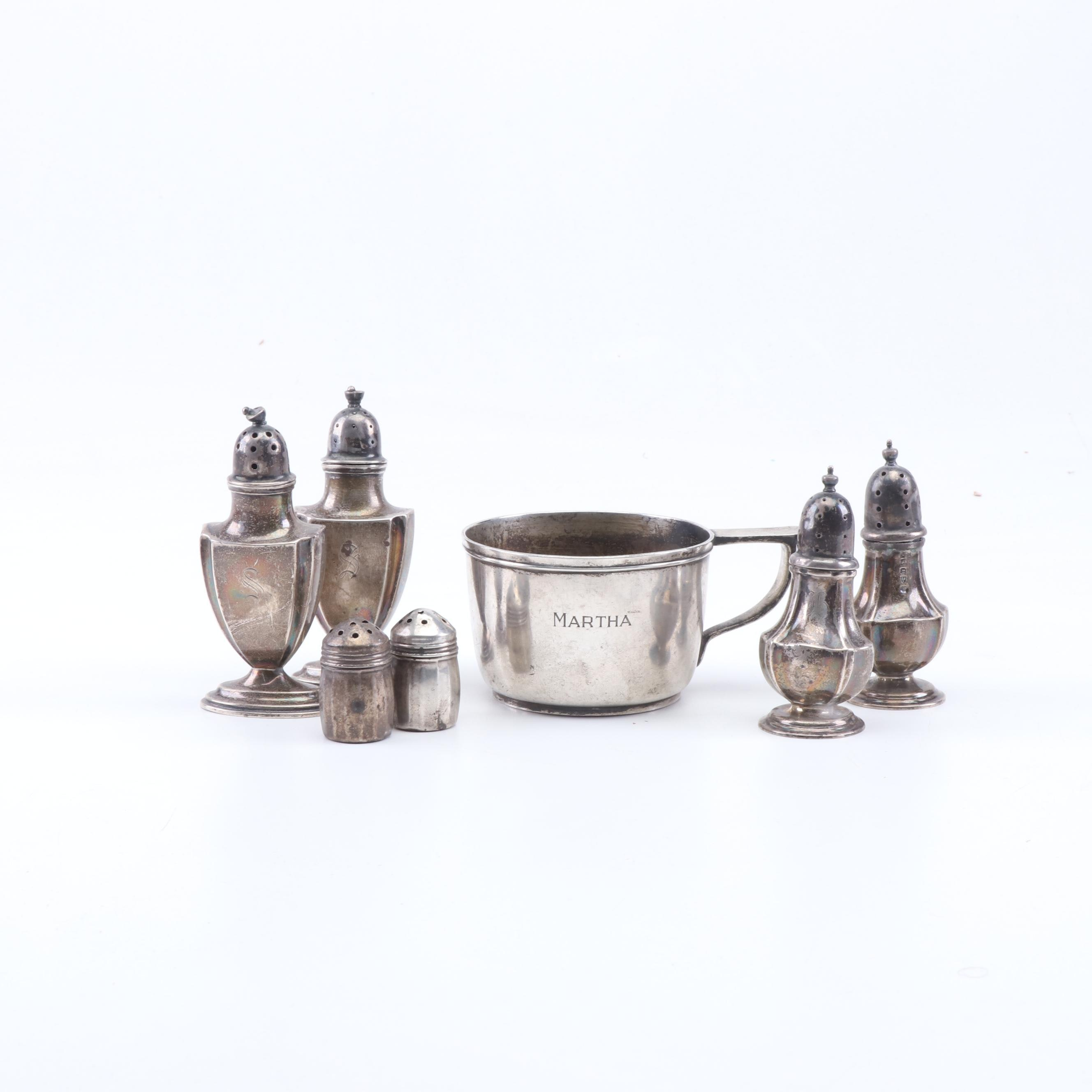 Sterling Silver Salt & Peppers Shakers and Cup