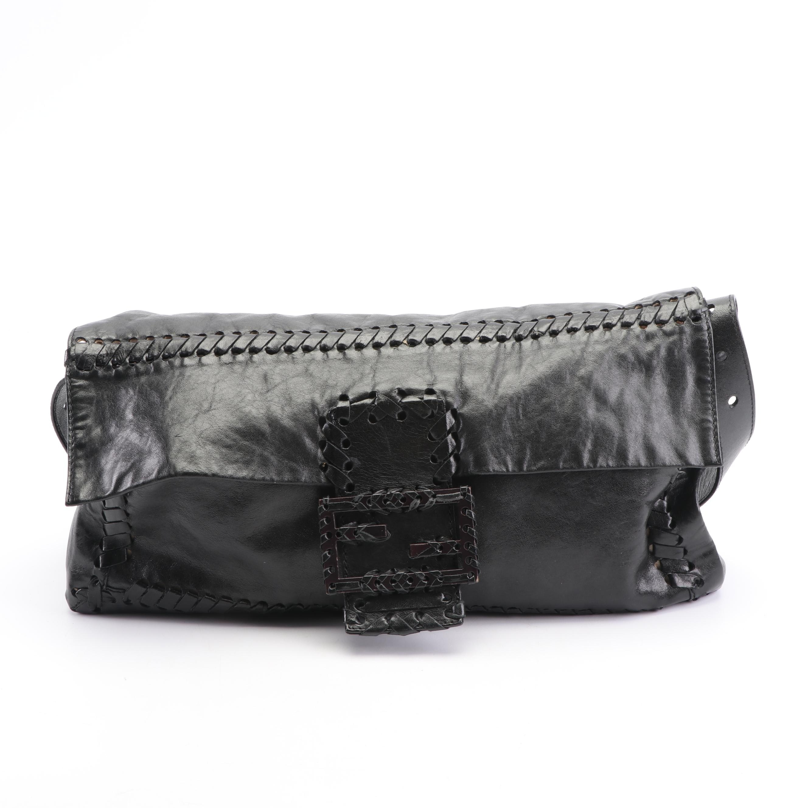 Fendi Black Leather Baguette with Woven Trim, Made in Italy