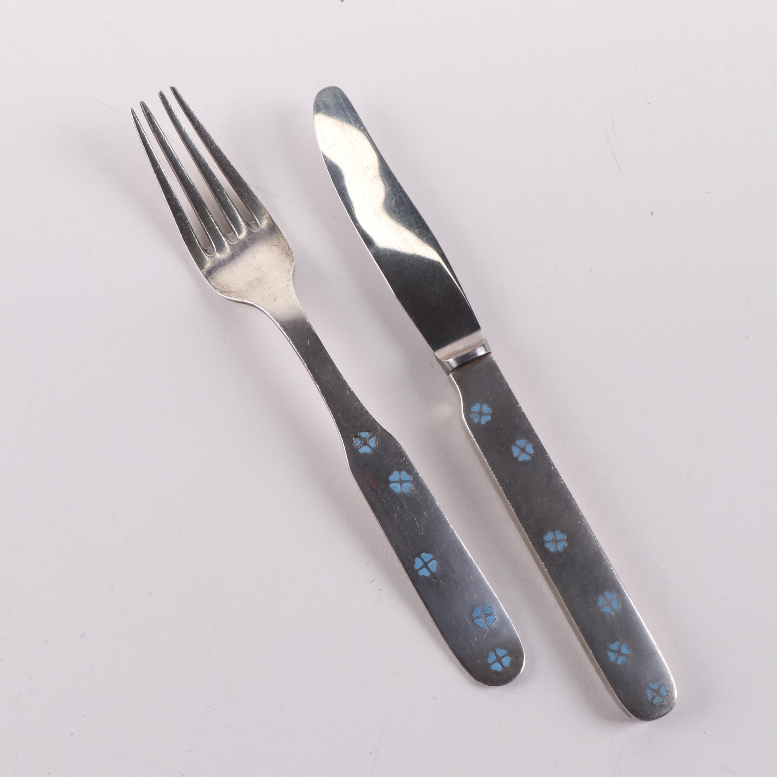 H. Nils Danish Modern Sterling Silver Knife and Fork Set
