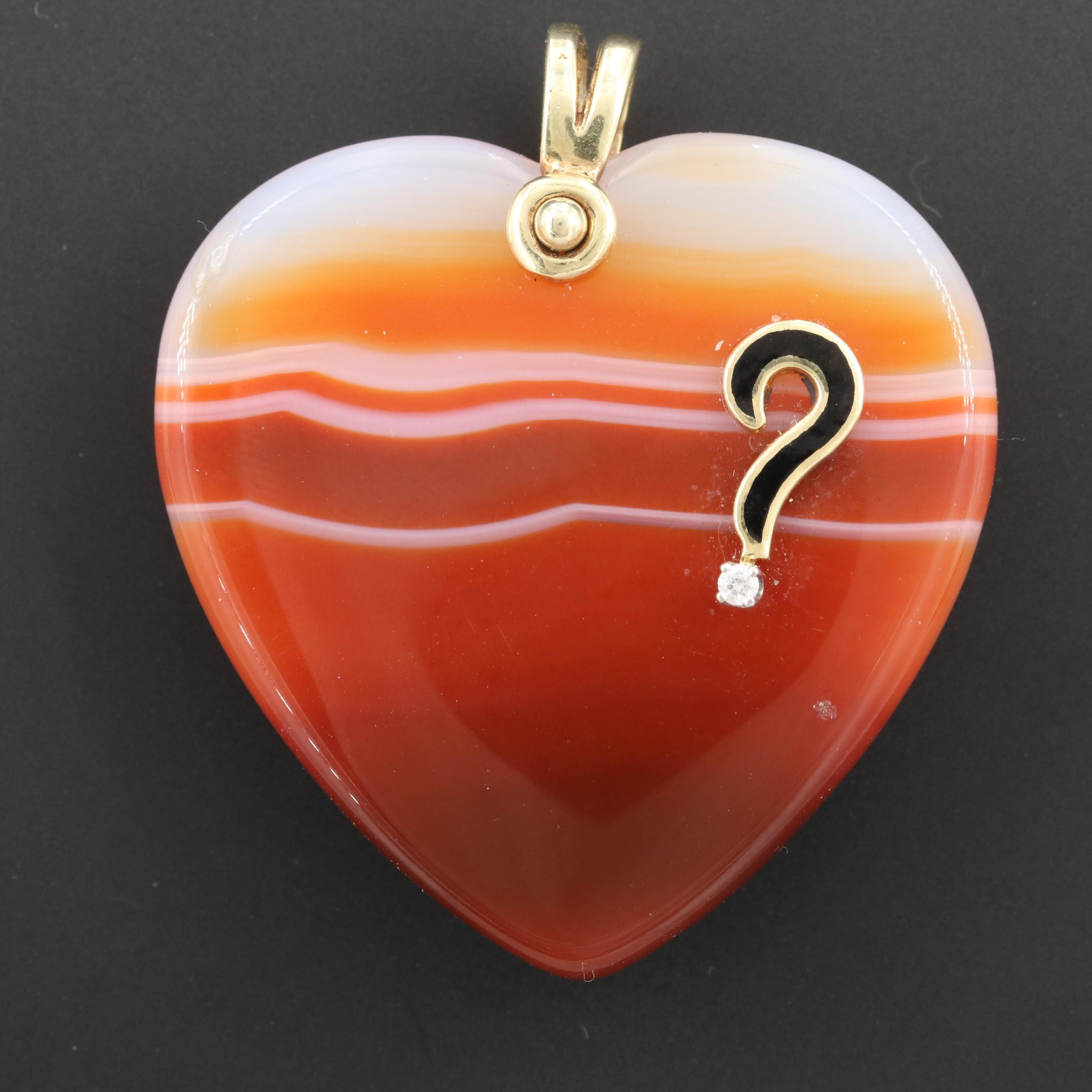14K Yellow Gold Agate, White Sapphire and Enamel Heart Pendant