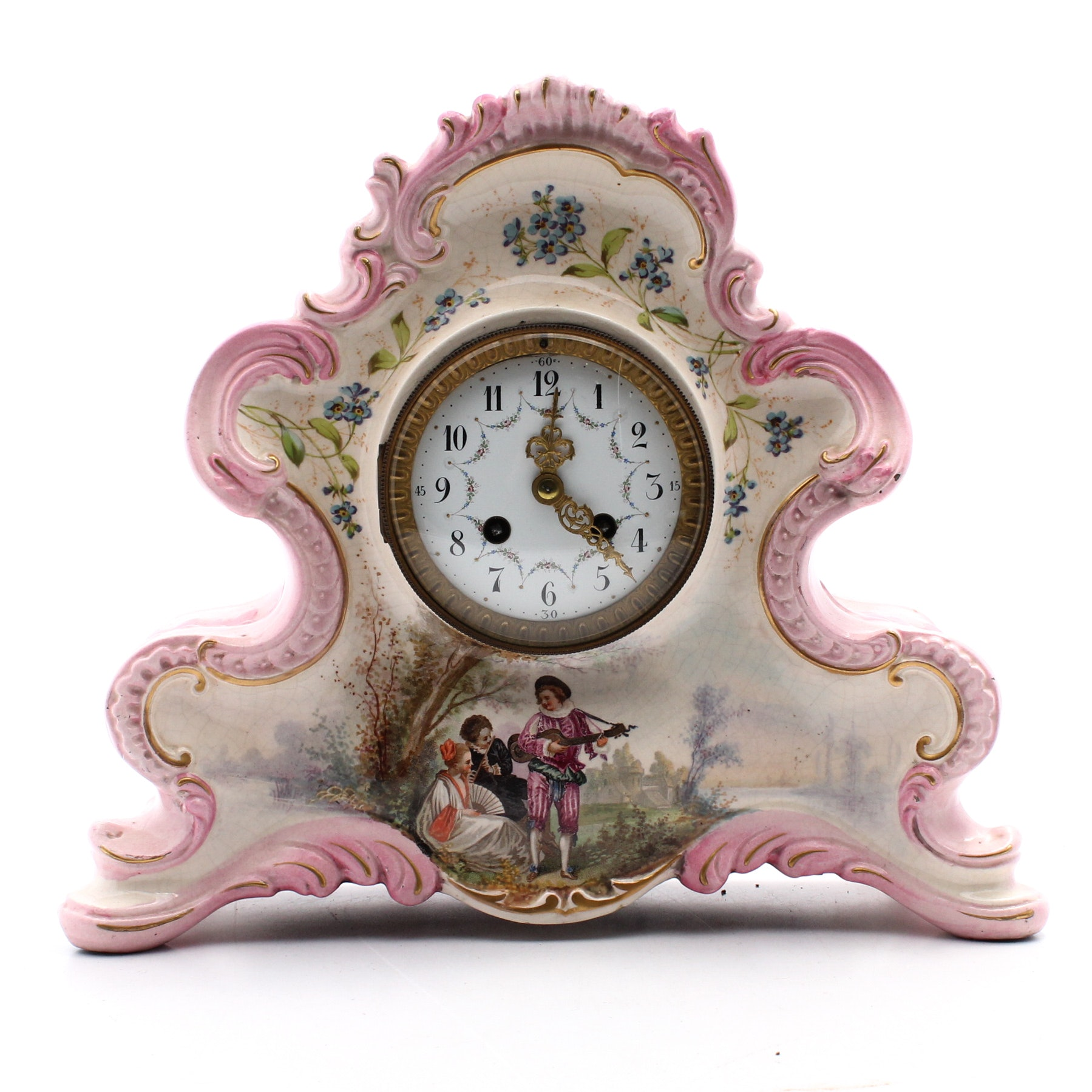 CJCC Hand-Painted French Porcelain Mantel Clock, Late 19th Century