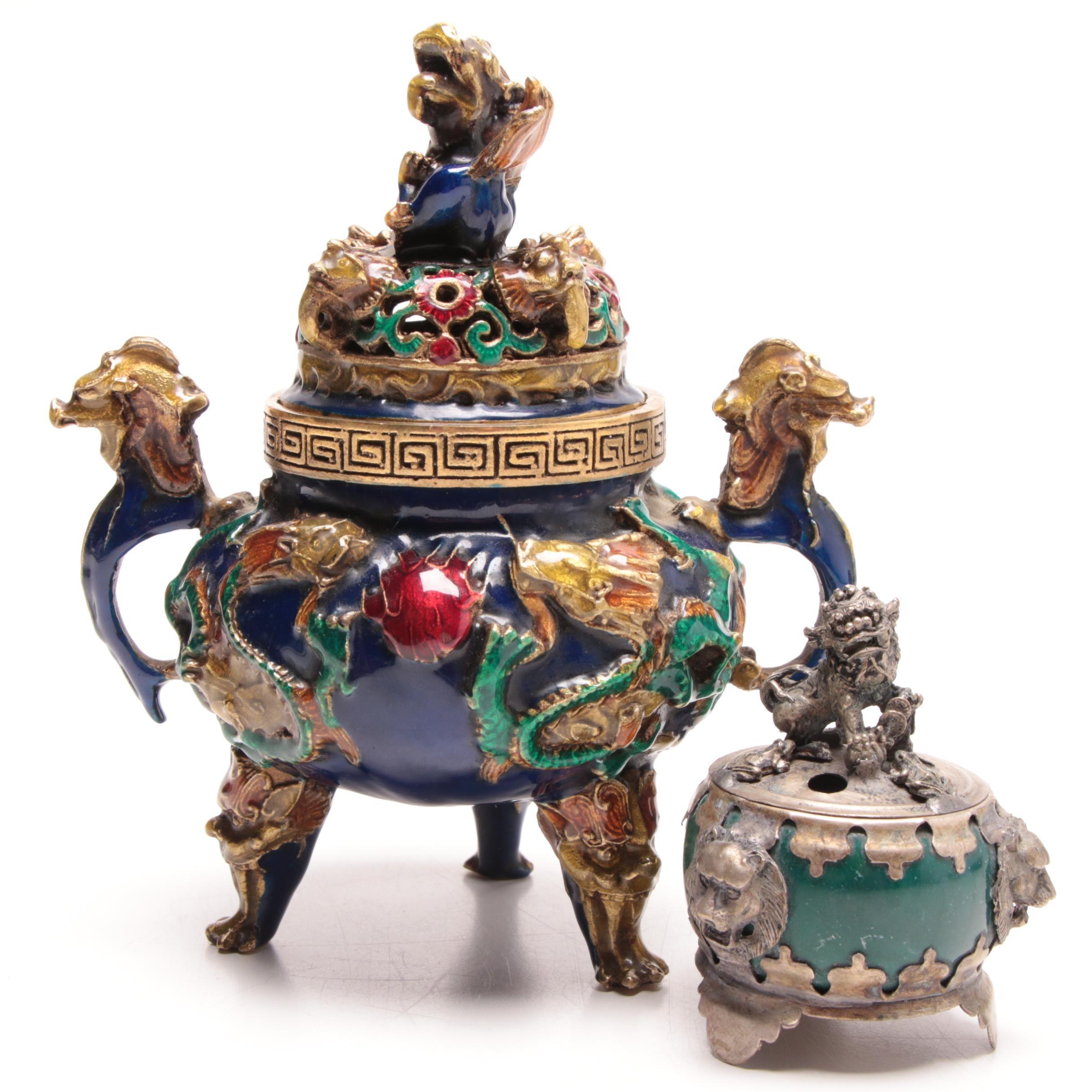 Chinese Ceramic and Metal Incense Burners