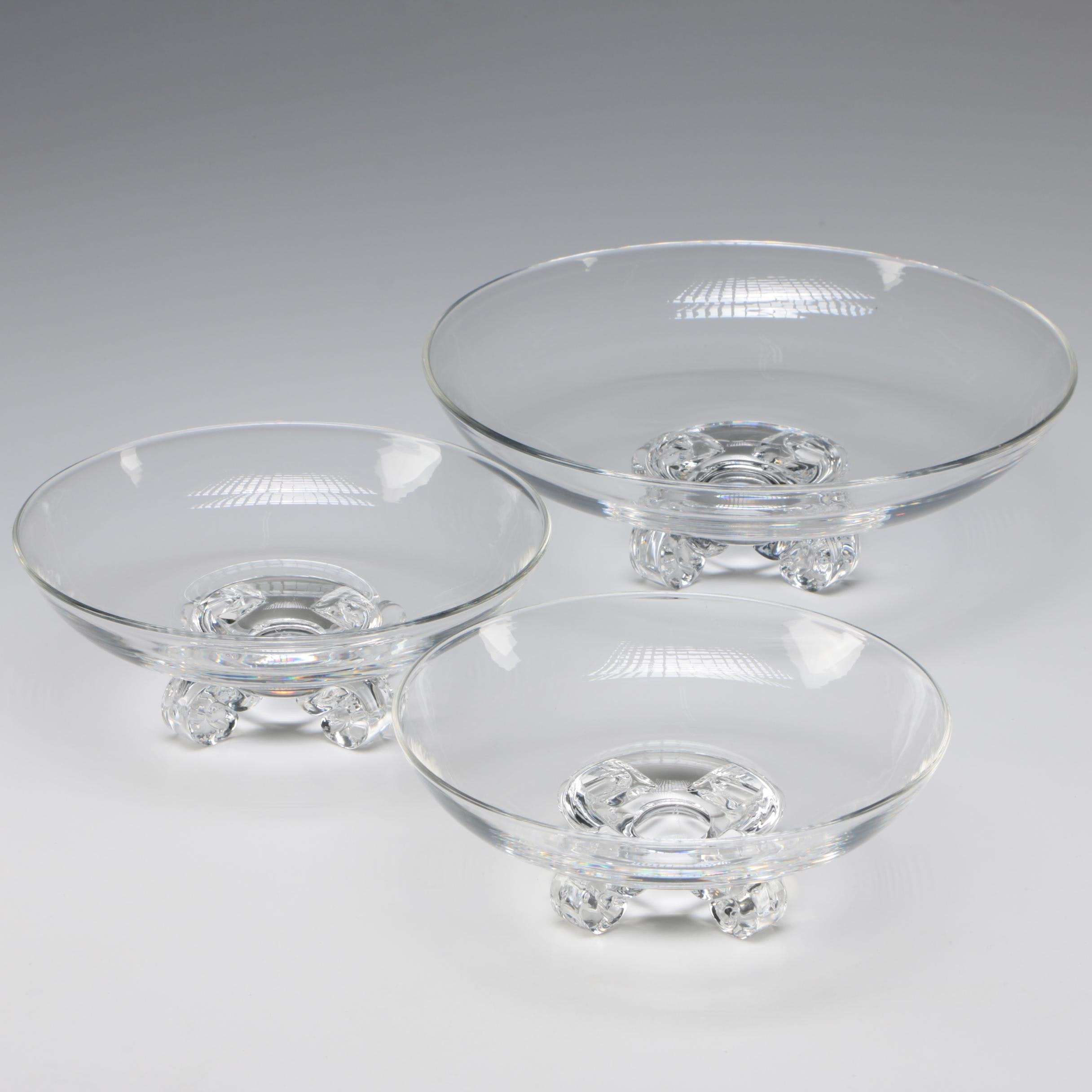 "Steuben Art Glass ""Low Footed Bowl"" Set Designed by John Dreves, c.1942"