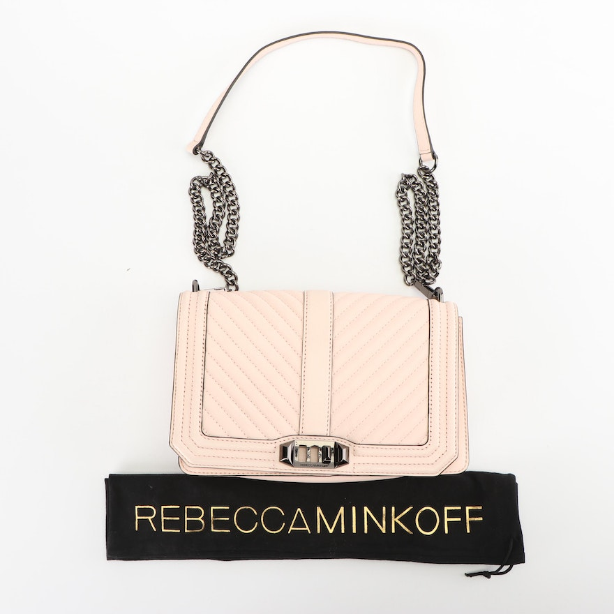 Rebecca Minkoff Quilted Blush Leather Flap Front Convertible Shoulder Bag    EBTH ebeacc9799