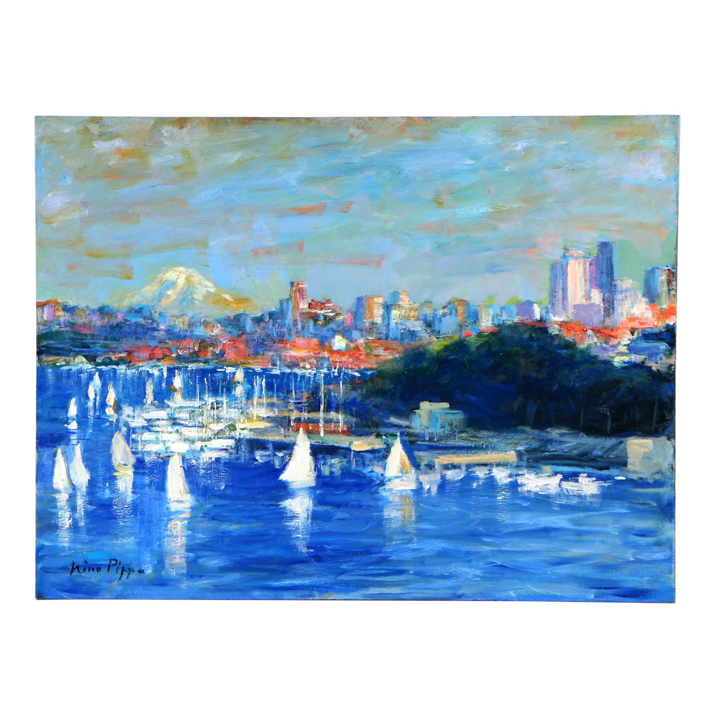 "Nino Pippa Oil Painting ""Seattle - Sailing Race"""