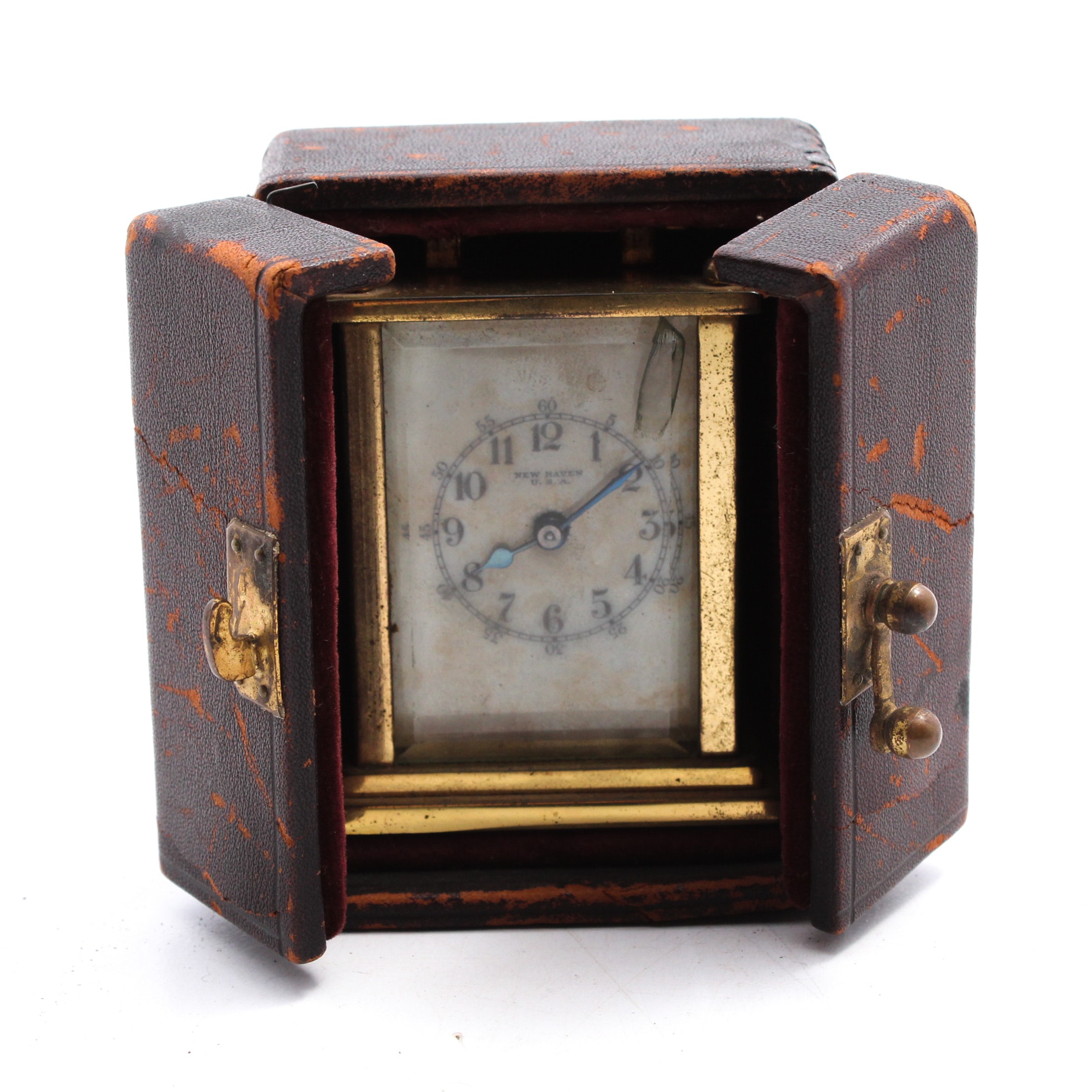 New Haven Brass Travel Carriage Clock with Leather Case