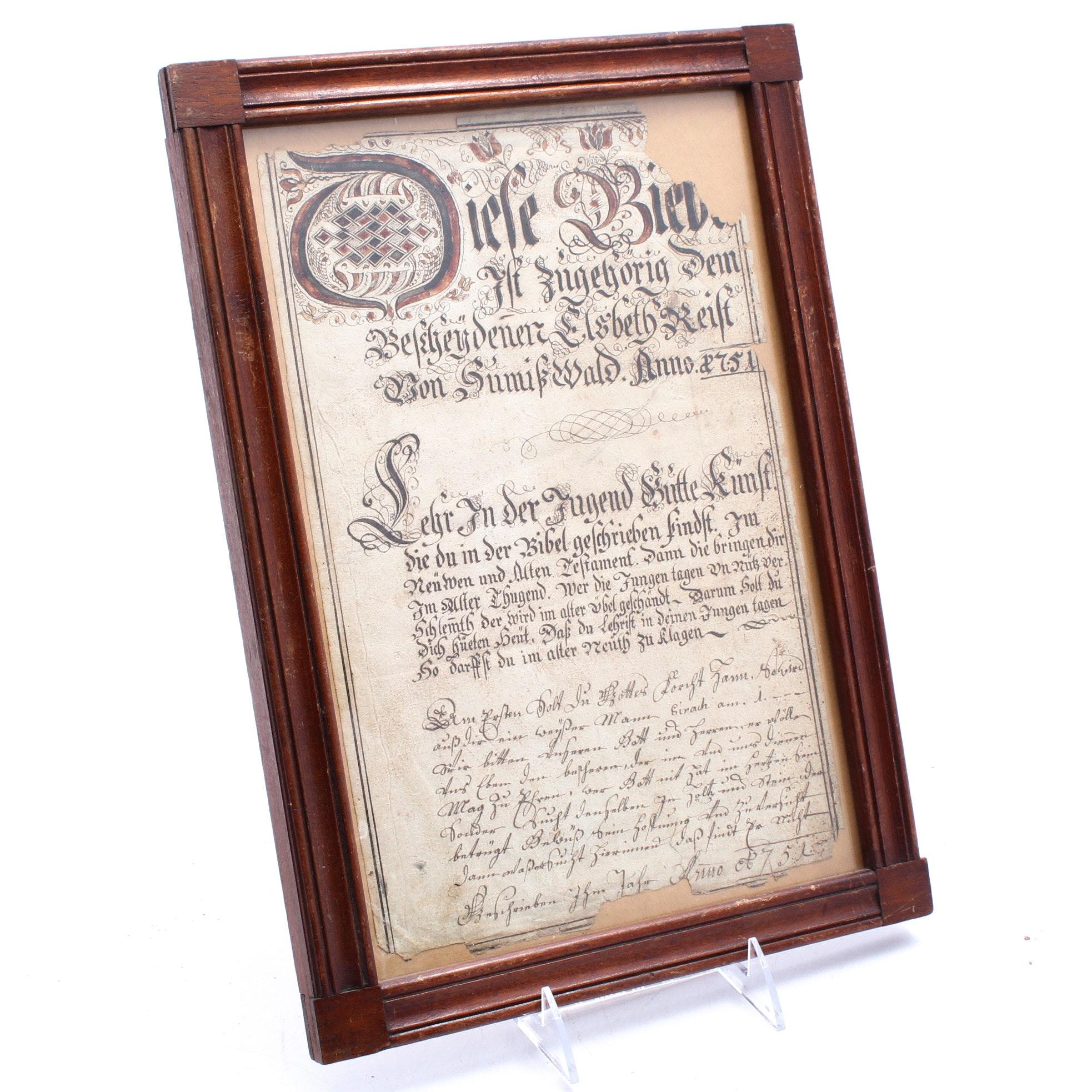 1751 Swiss Hand-Written Fraktur Manuscript