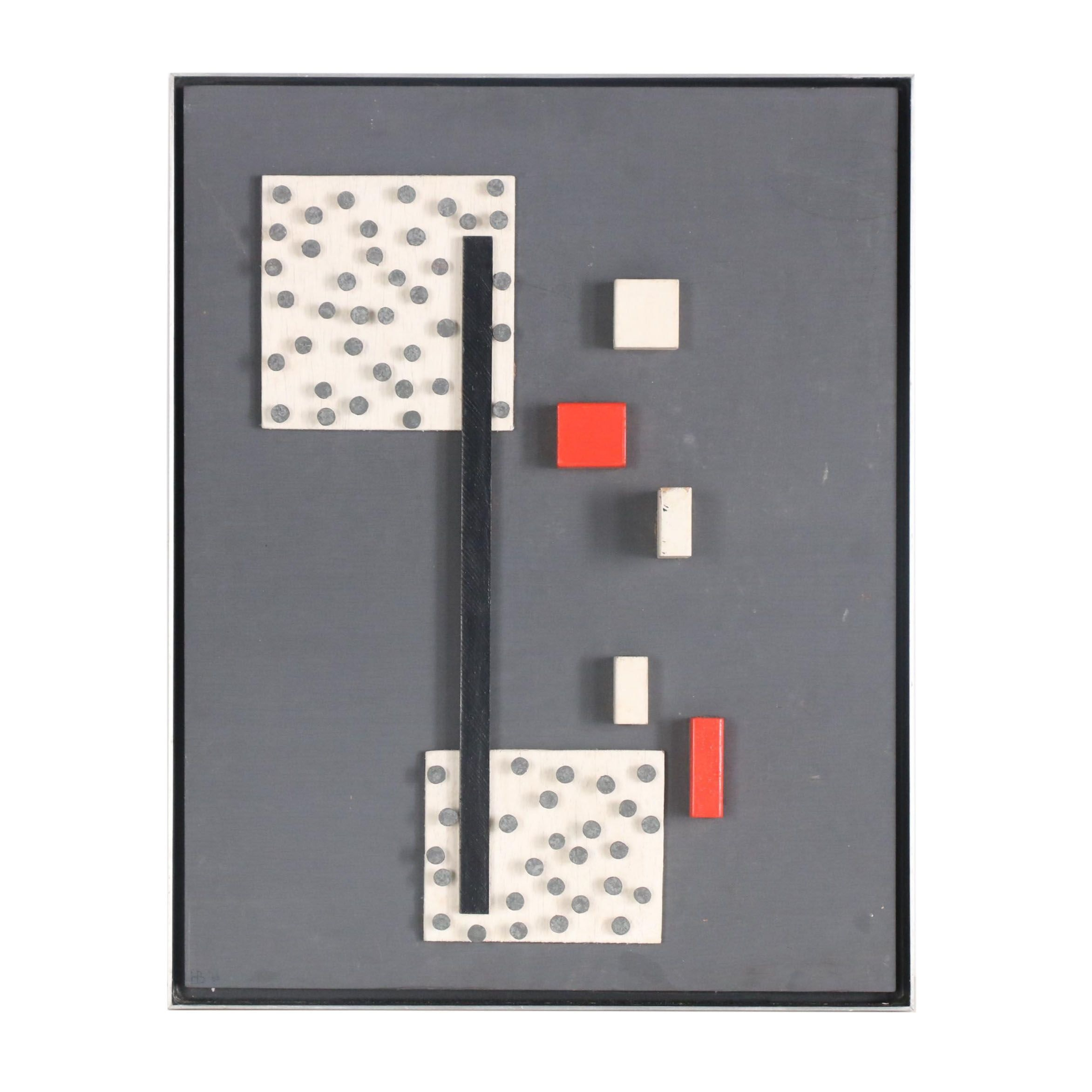 Concrete Style Mixed Media Composition, 1966
