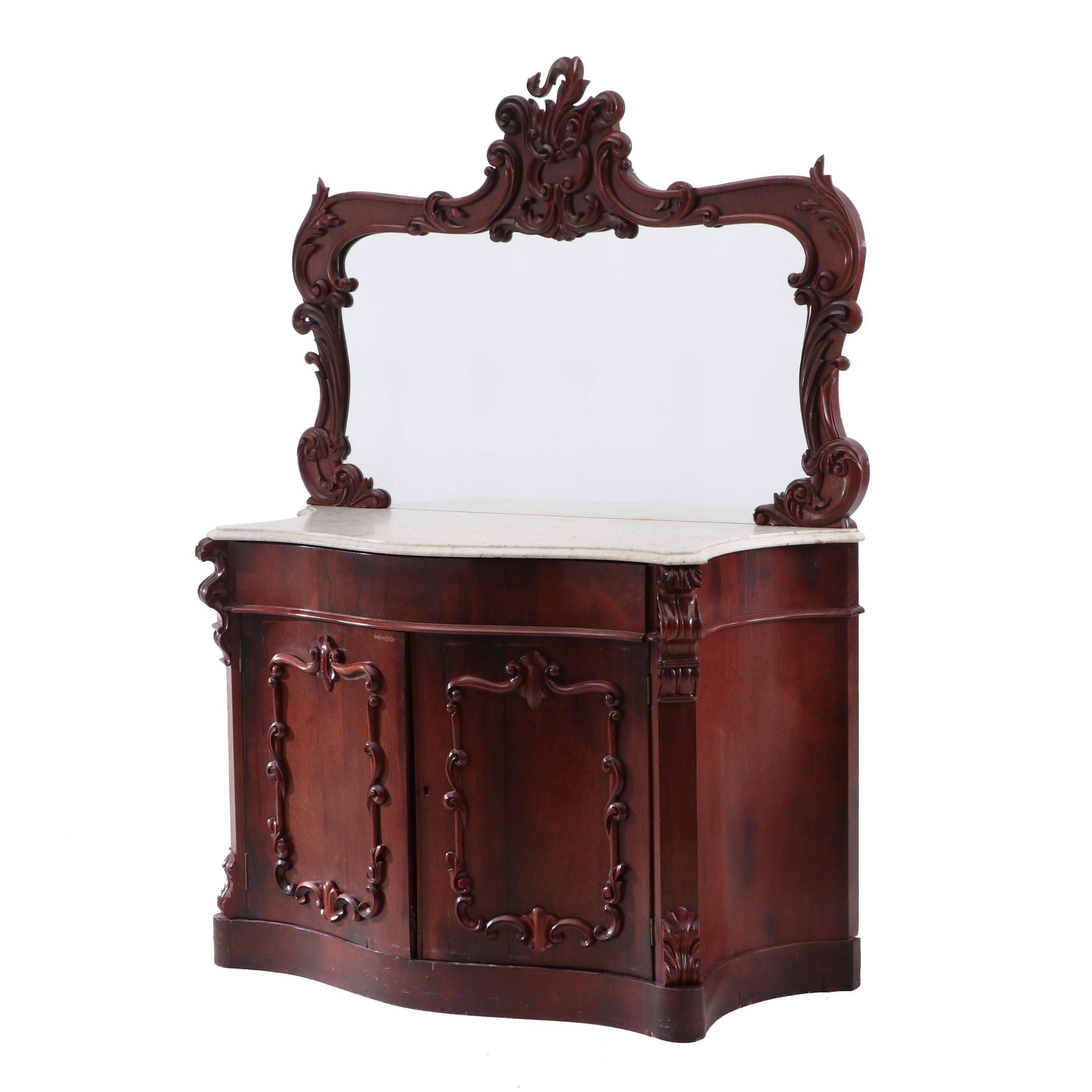 Victorian Mahogany Sideboard with Marble Top and Mirror, Circa 1860