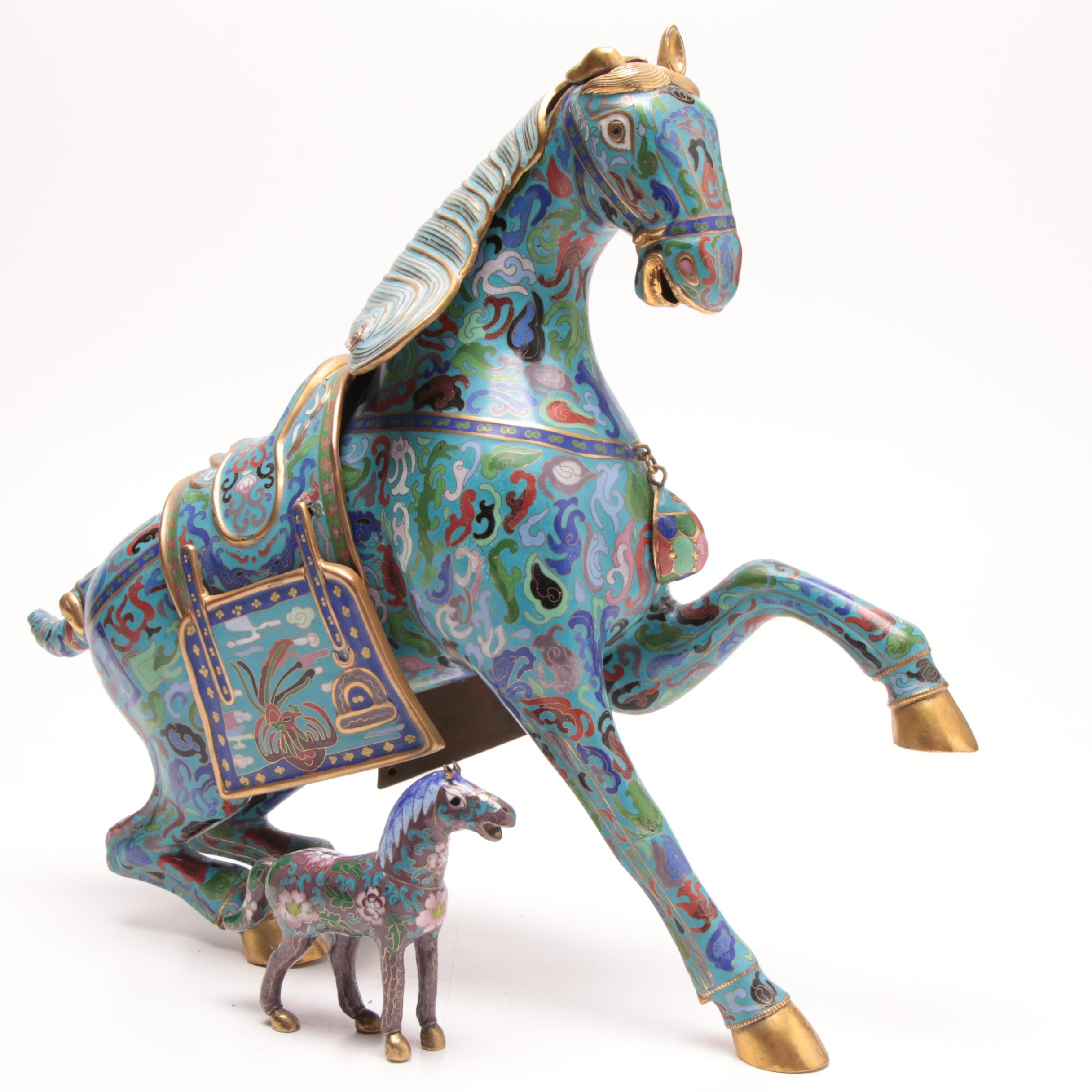 Chinese Cloisonné Horse Statue and Figurine