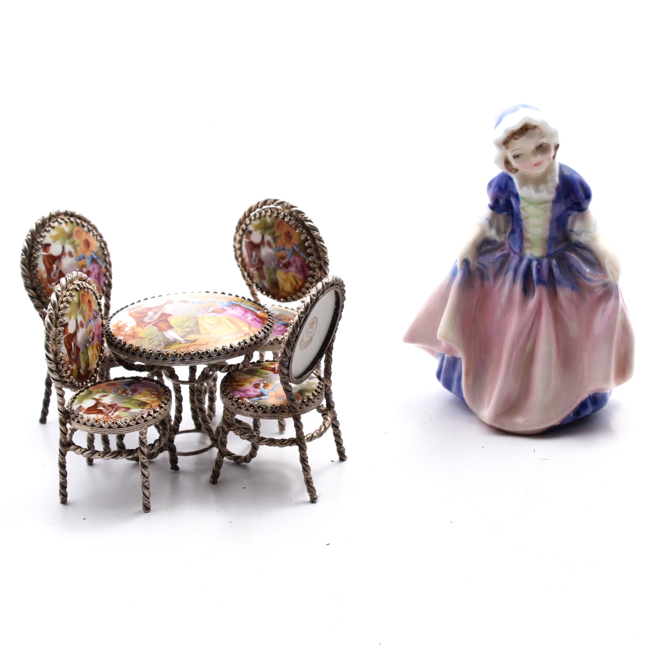 Limoges Porcelain Doll House Table and Chairs
