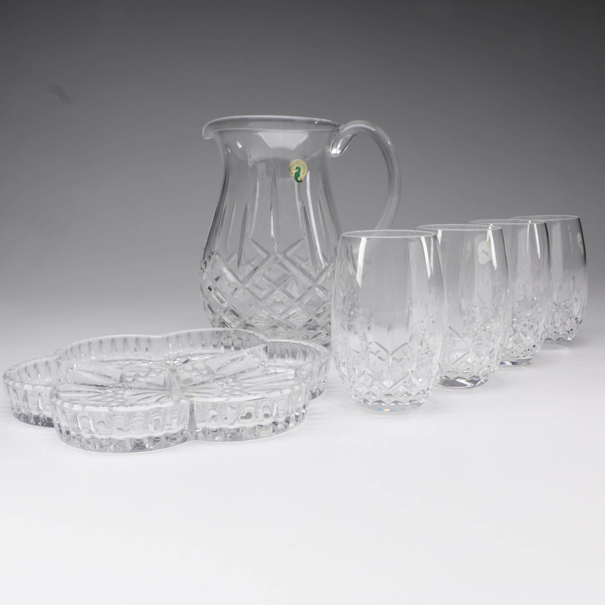 """Waterford Crystal """"Lismore"""" Pitcher, Wine Glasses, and Relish Dish"""