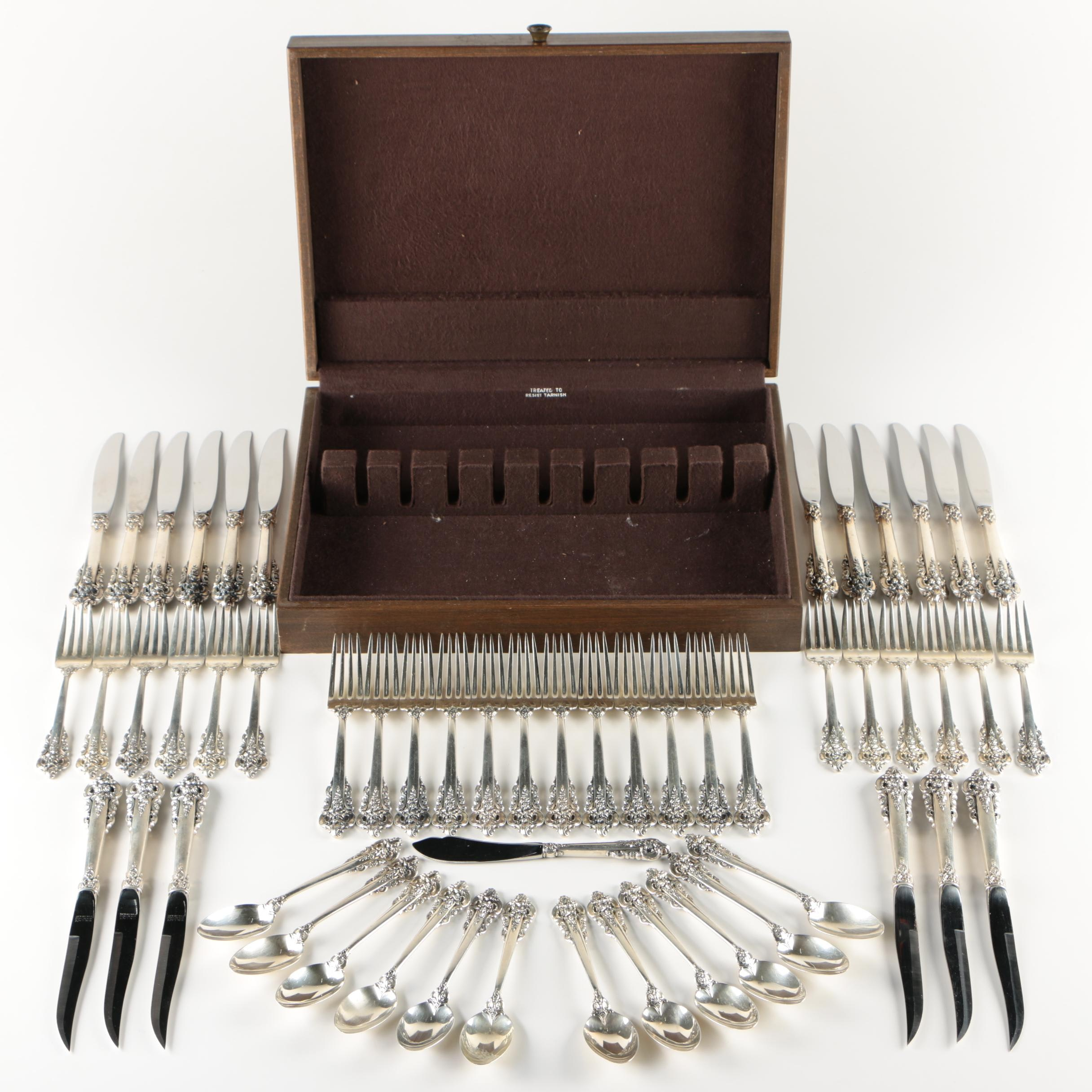 "Wallace ""Grande Baroque"" Sterling Silver Flatware in Chest"