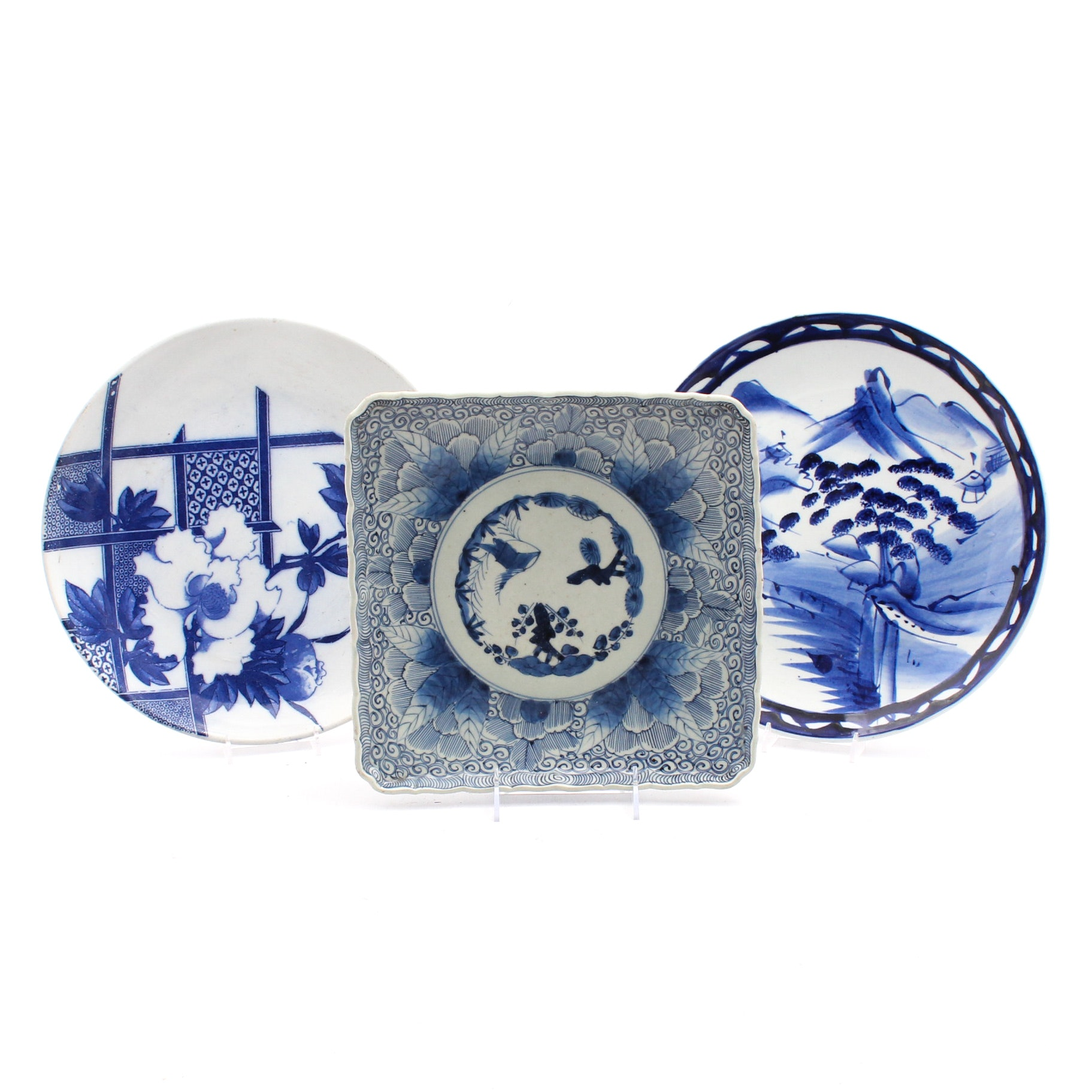Japanese Meiji Period Blue and White Porcelain Chargers