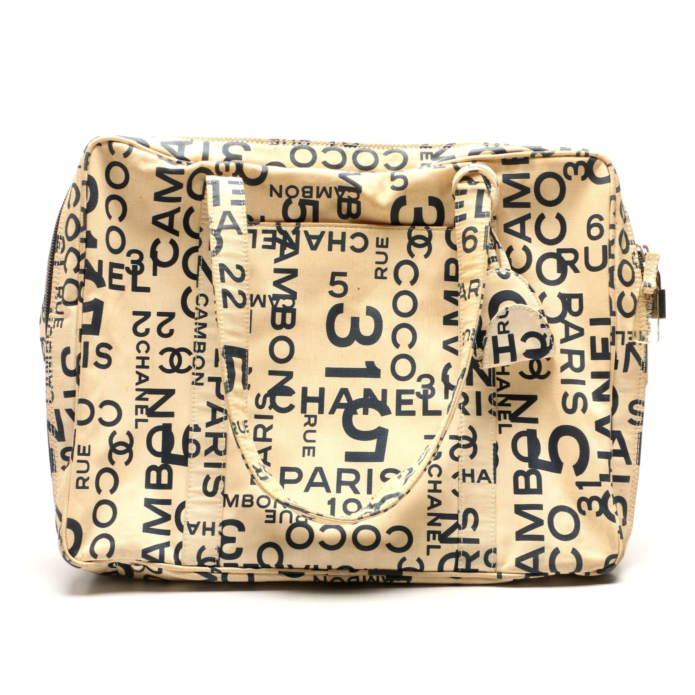 Chanel Cream and Navy Rue Cambon Logo Canvas Bag