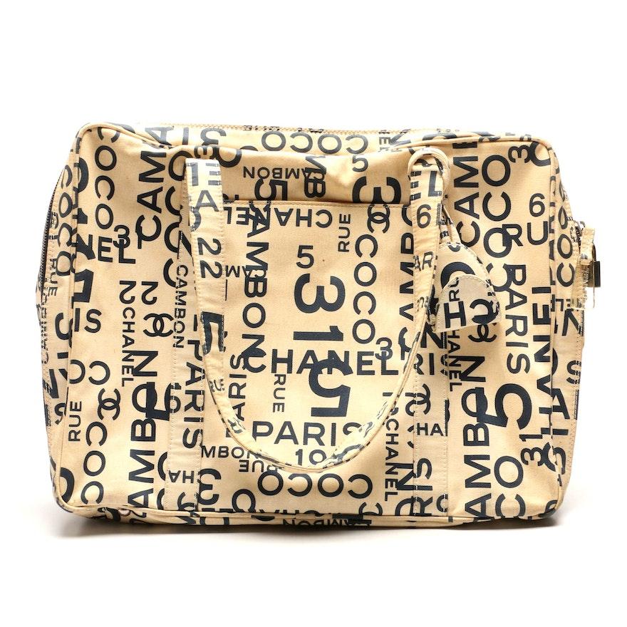 5d4f343c6427 Chanel Cream and Navy Rue Cambon Logo Canvas Bag   EBTH