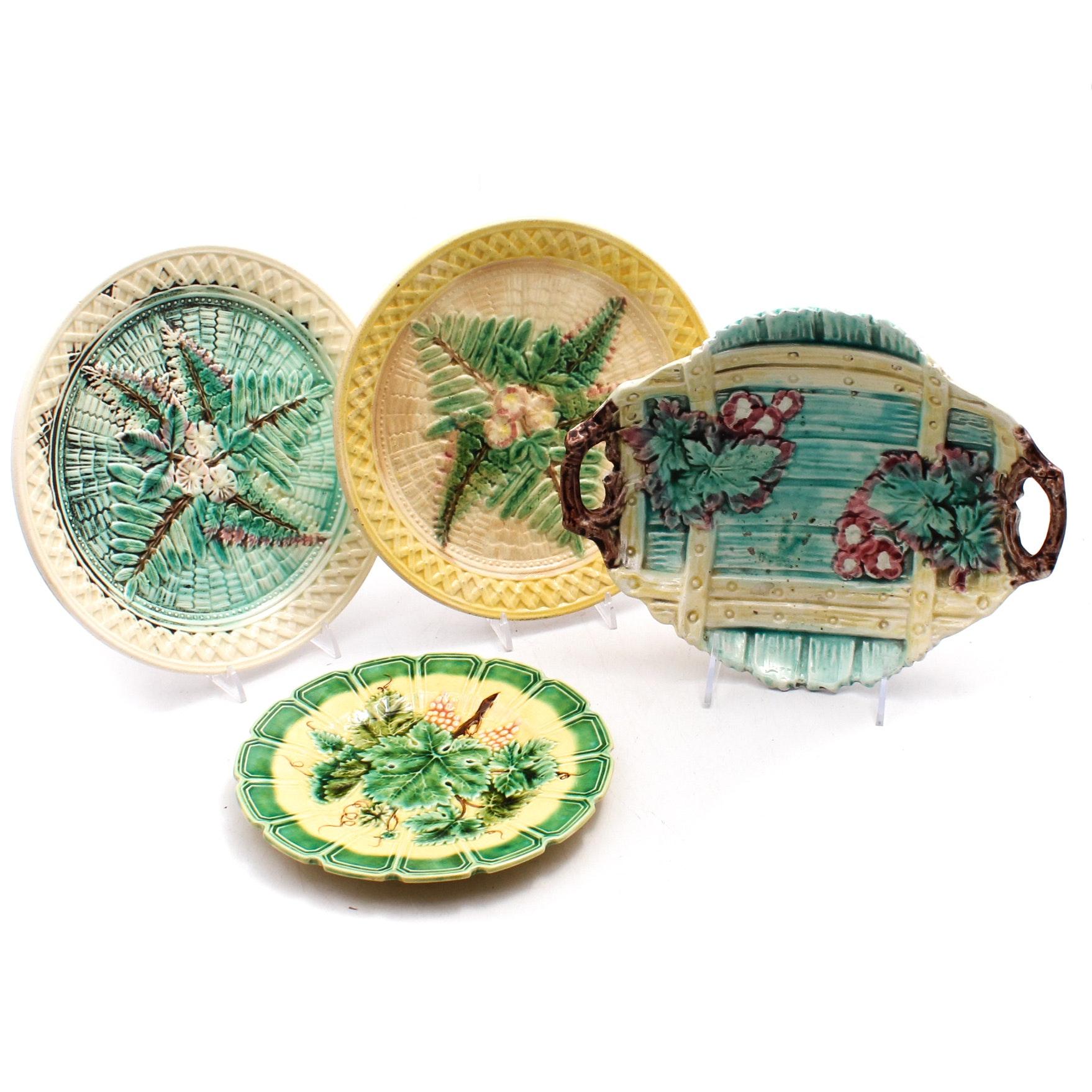 Majolica Glazed Ceramic Plates