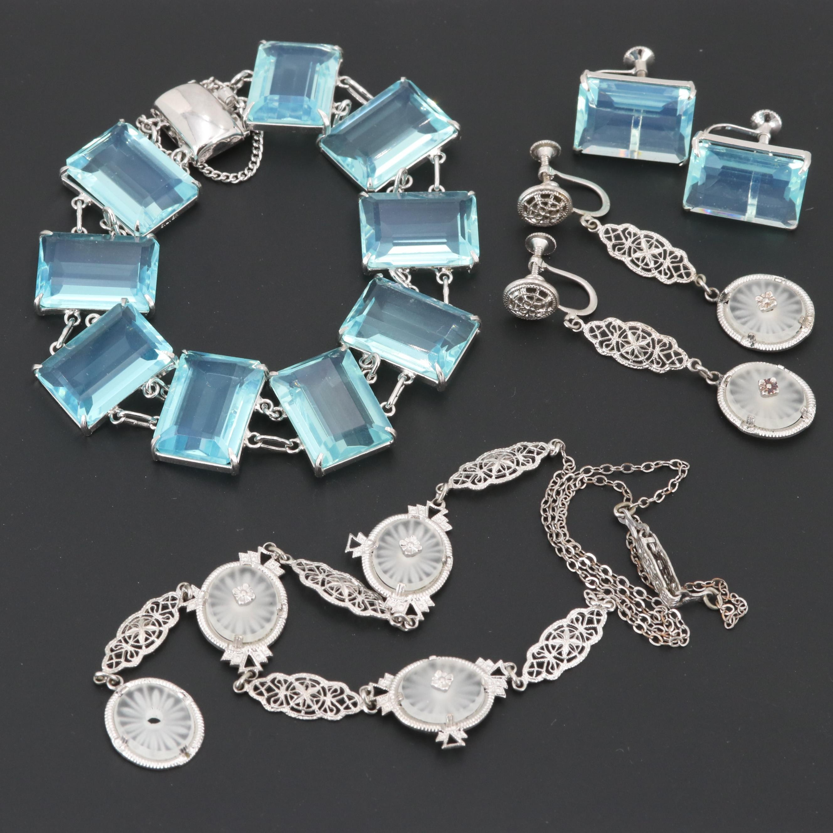 Vintage Glass and Camphor Glass Earrings, Bracelet and Necklace