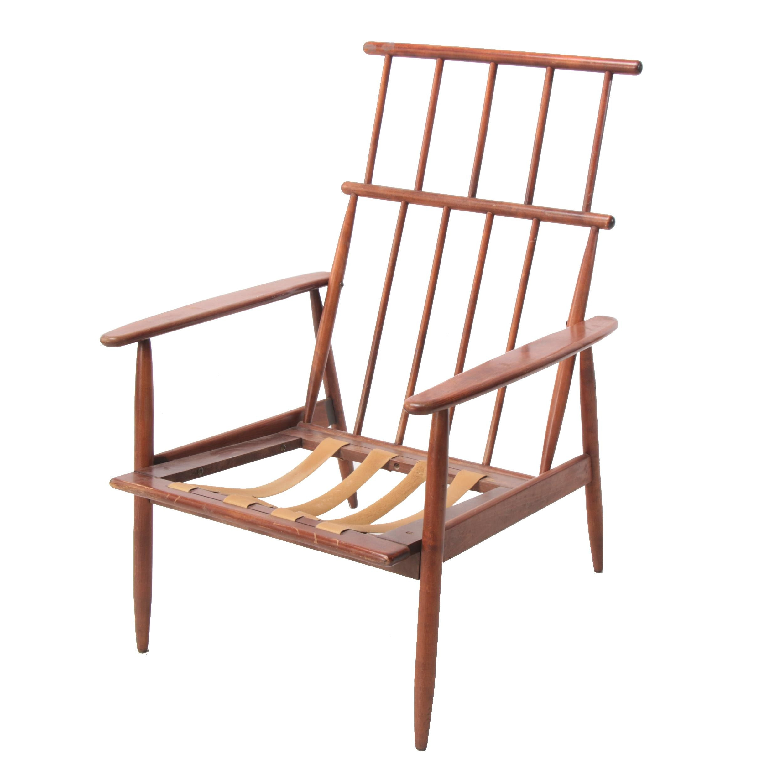Mid Century Modern Walnut-Stained Spindle-Back Lounge Chair