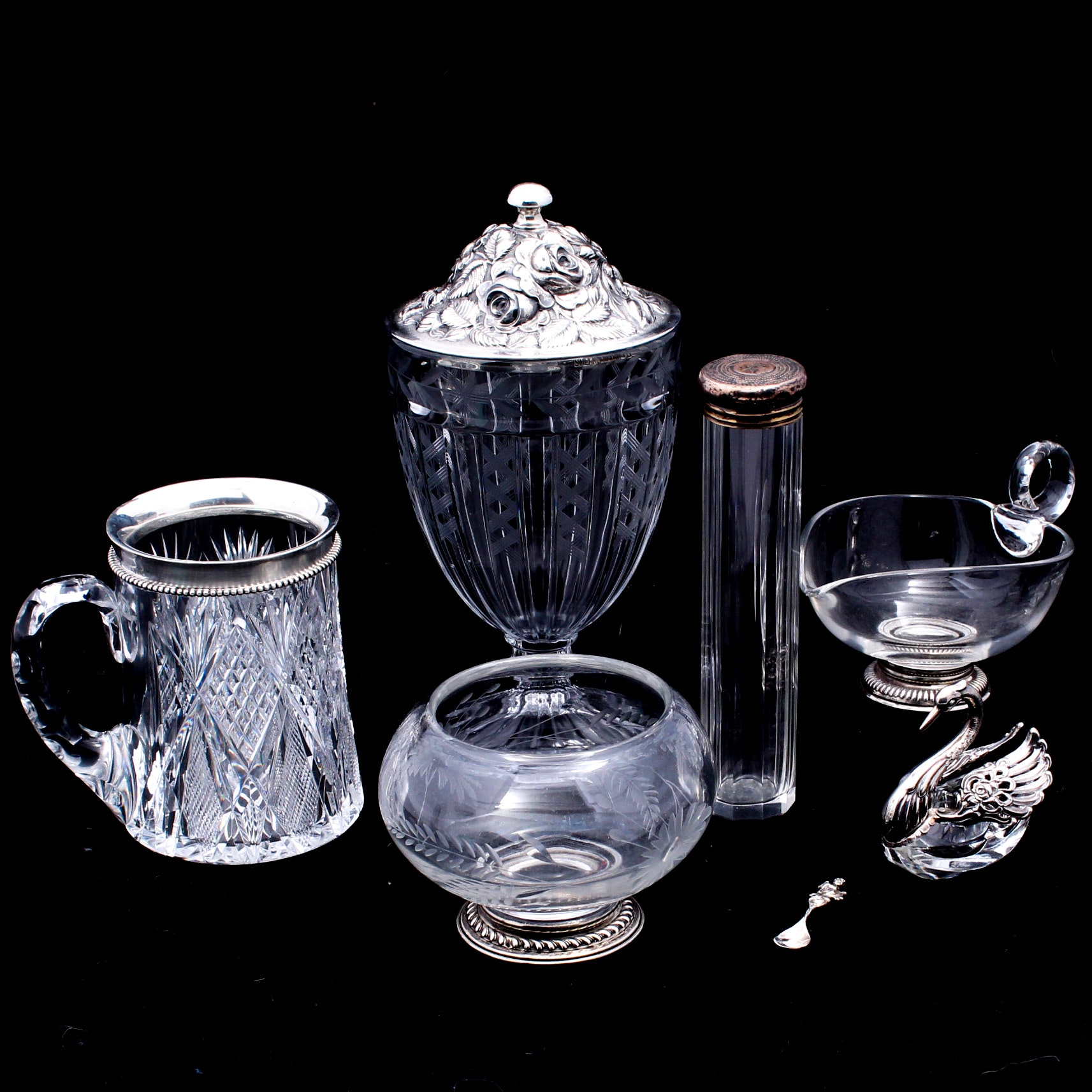 Glass Serveware with Sterling Featuring Heisey, Steiff, Whiting