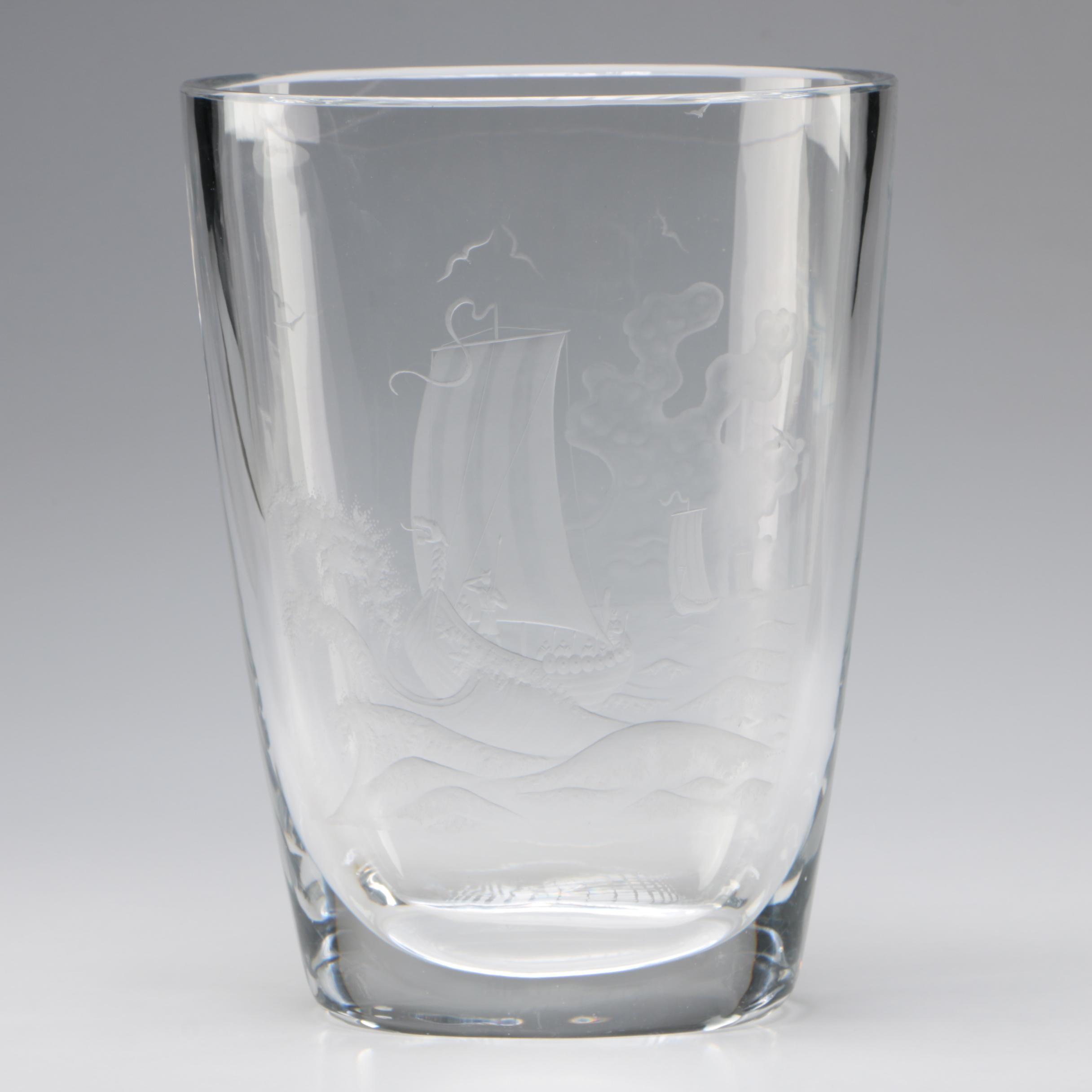Orrefors Etched Viking Ship Crystal Vase Designed by Nils Landberg, Mid-Century