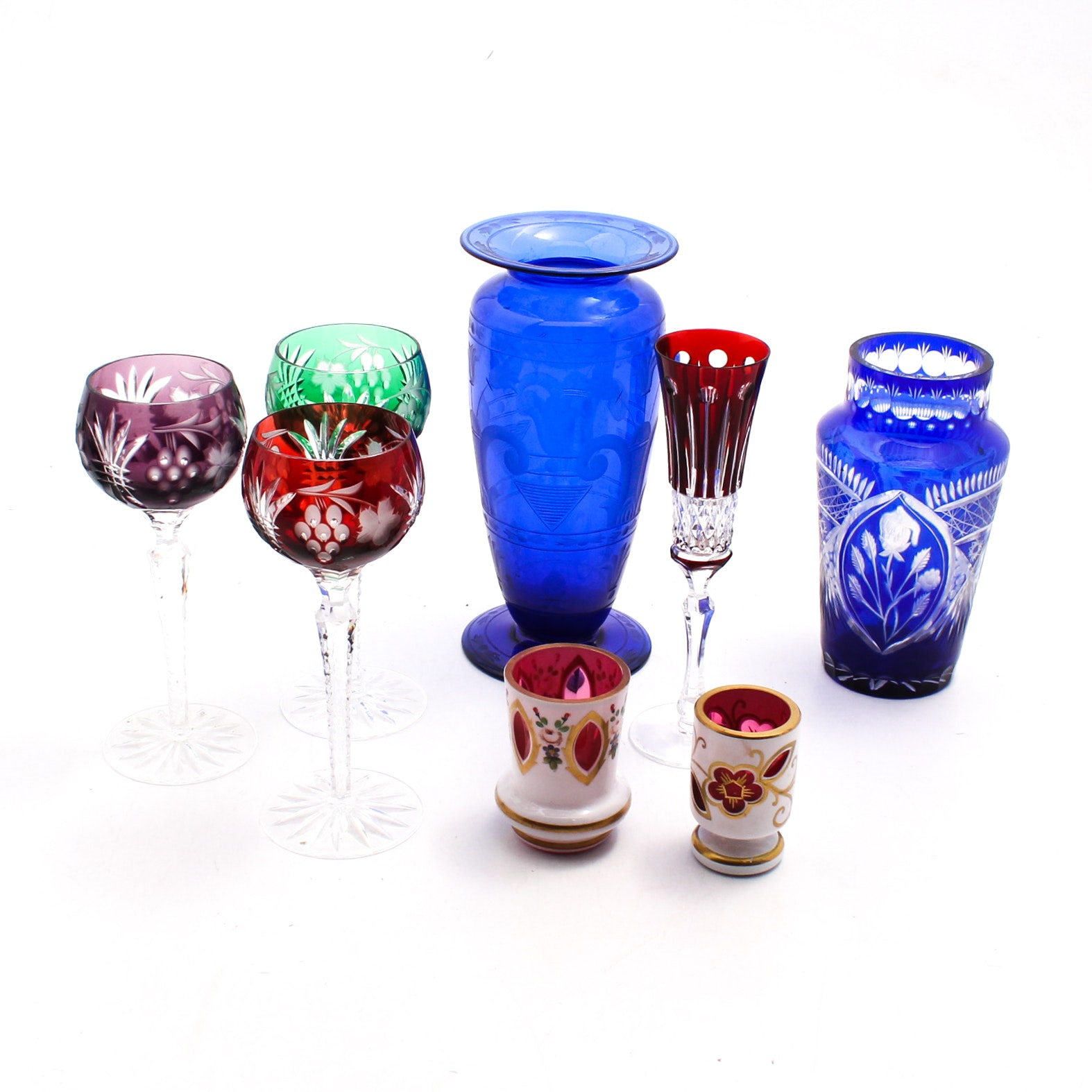 Bohemian Cut Decorated Glassware