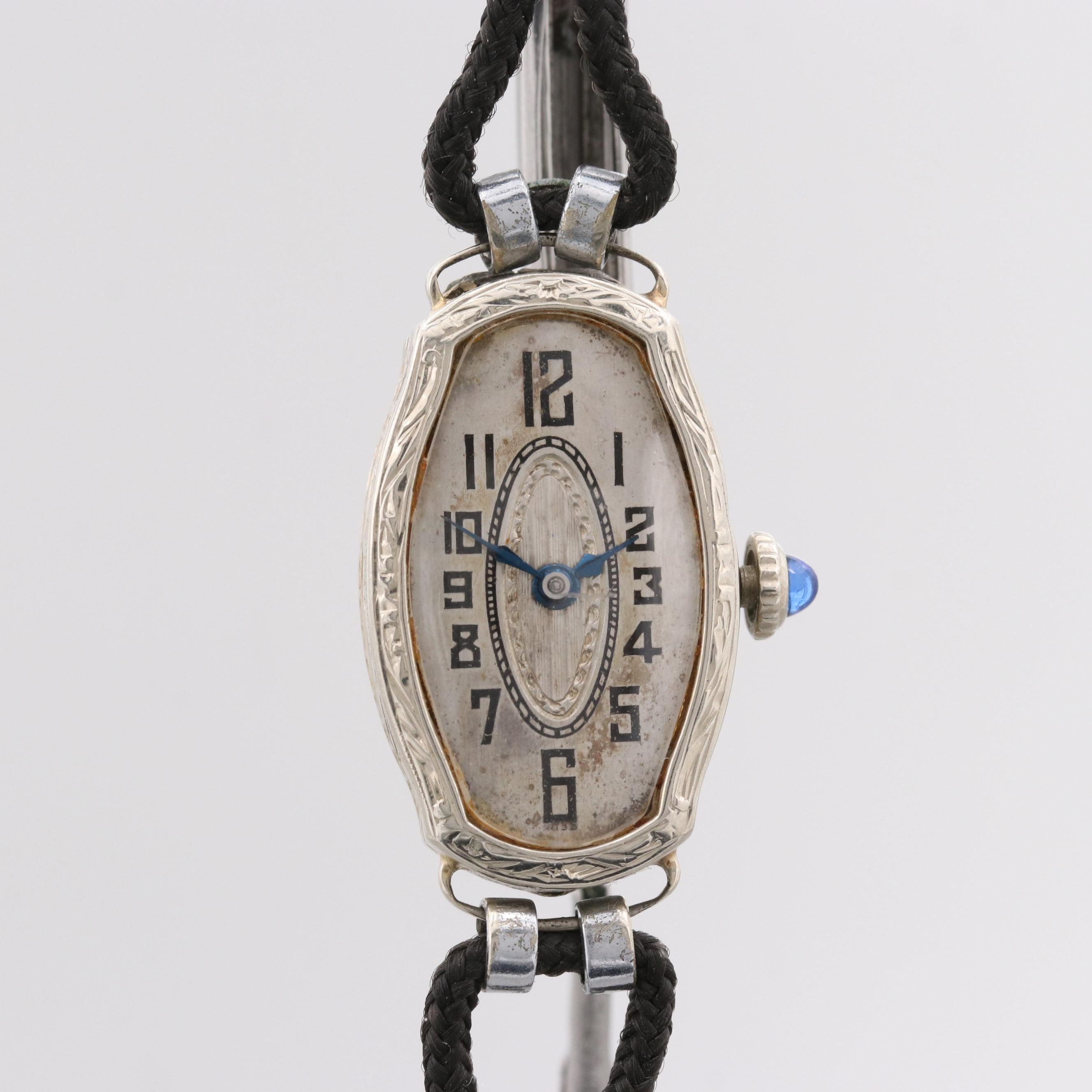 Vintage 14K White Gold Stem Wind Wristwatch With Blue Glass Crown Accent