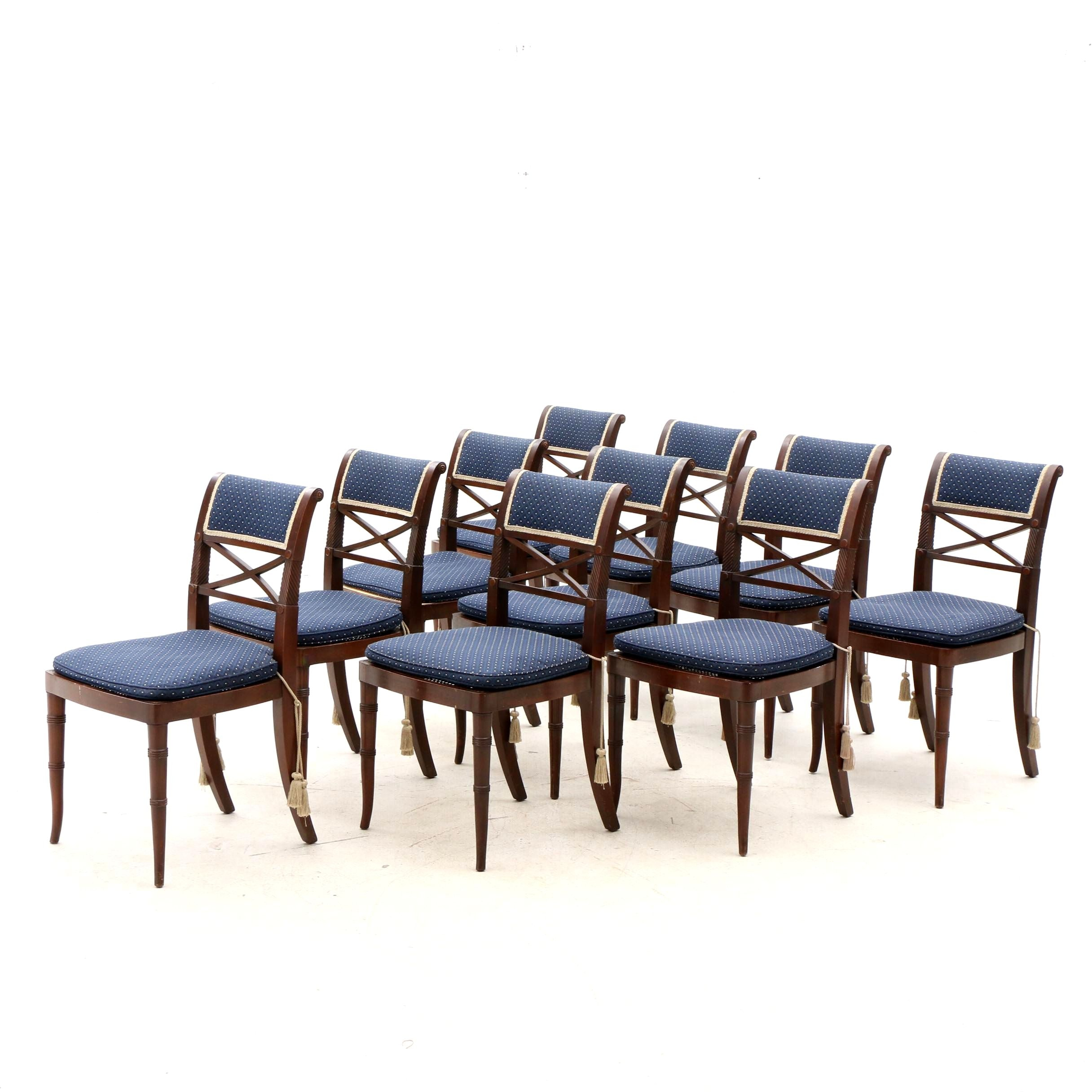 Ten Federal Style Mahogany Side Dining Chairs with Cane Seats