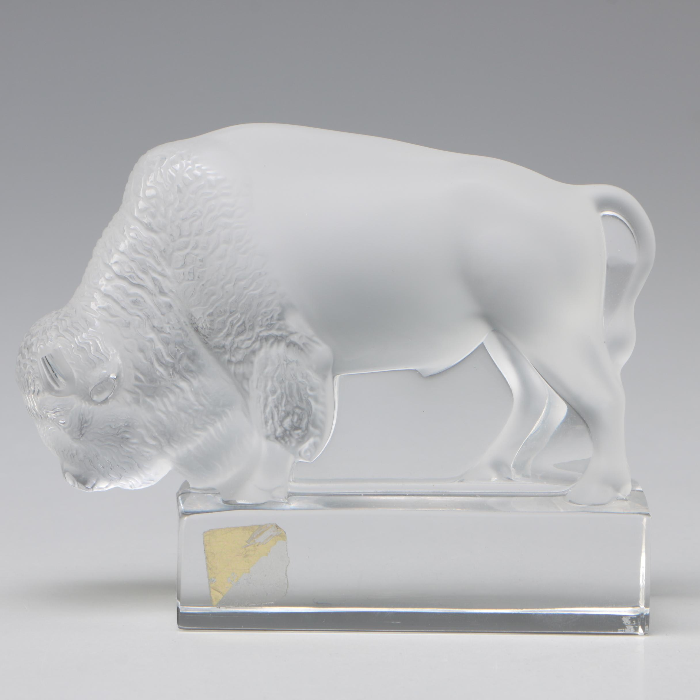Lalique Frosted Crystal Buffalo Figurine